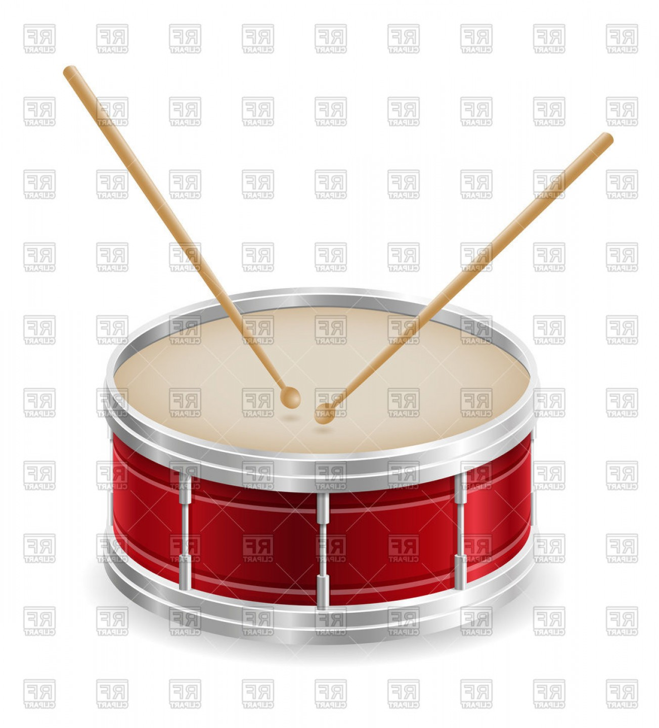 Drum Vector Art: Red Drum With Drumsticks Musical Instrument Vector Clipart