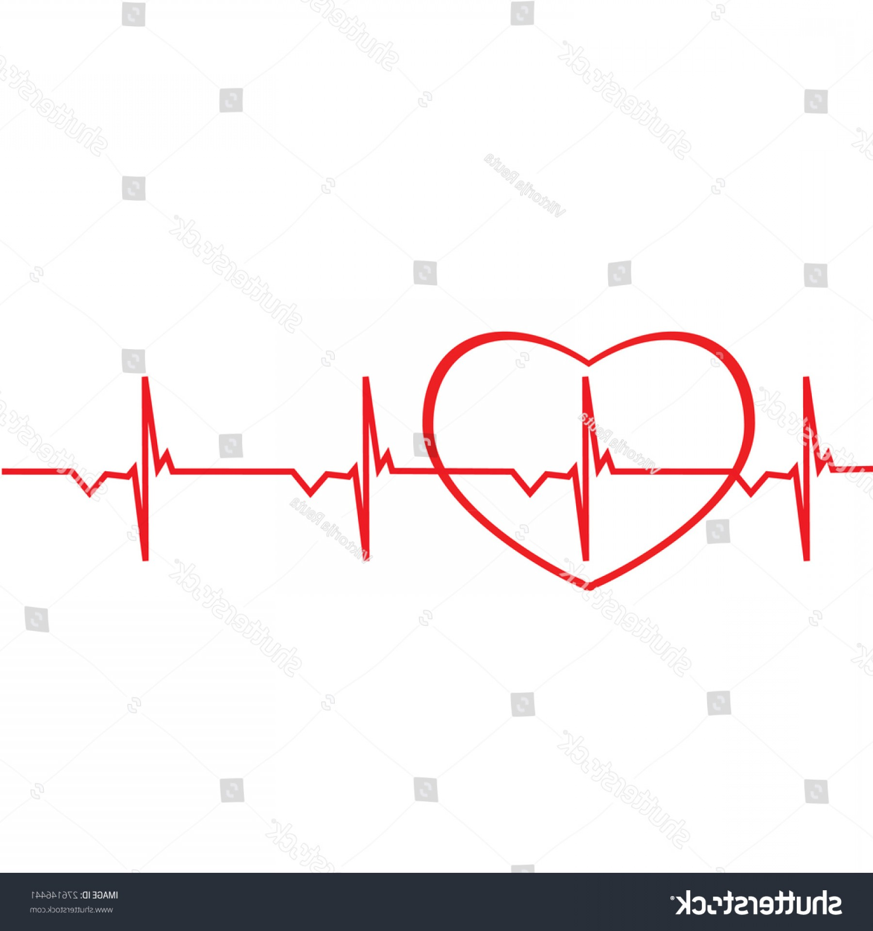 Heart With EKG Line Vector: Red Ekg Line Heart Silhouette Vector