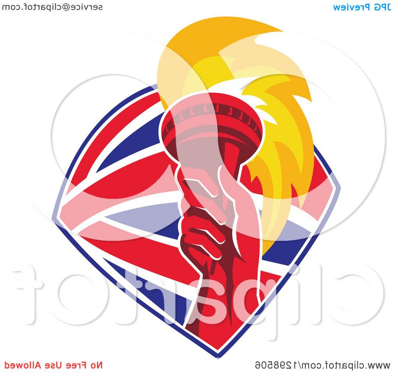 Union Jack Flag Tattered Vector: Red Hand Holding Up A Torch In A British Flag Shield