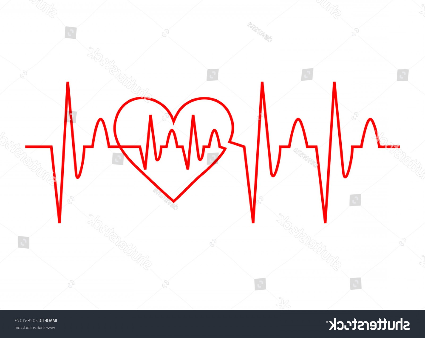 Heart With EKG Line Vector: Red Heart Ekg Medical Design Life