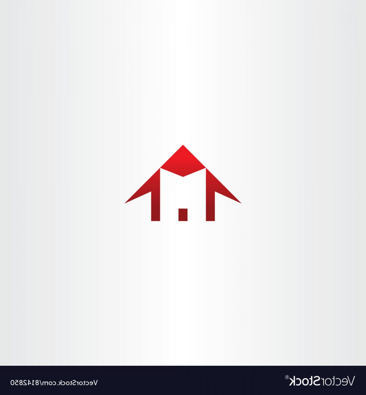 Home Logo Vector: Red House Letter M Home Icon Logo Vector