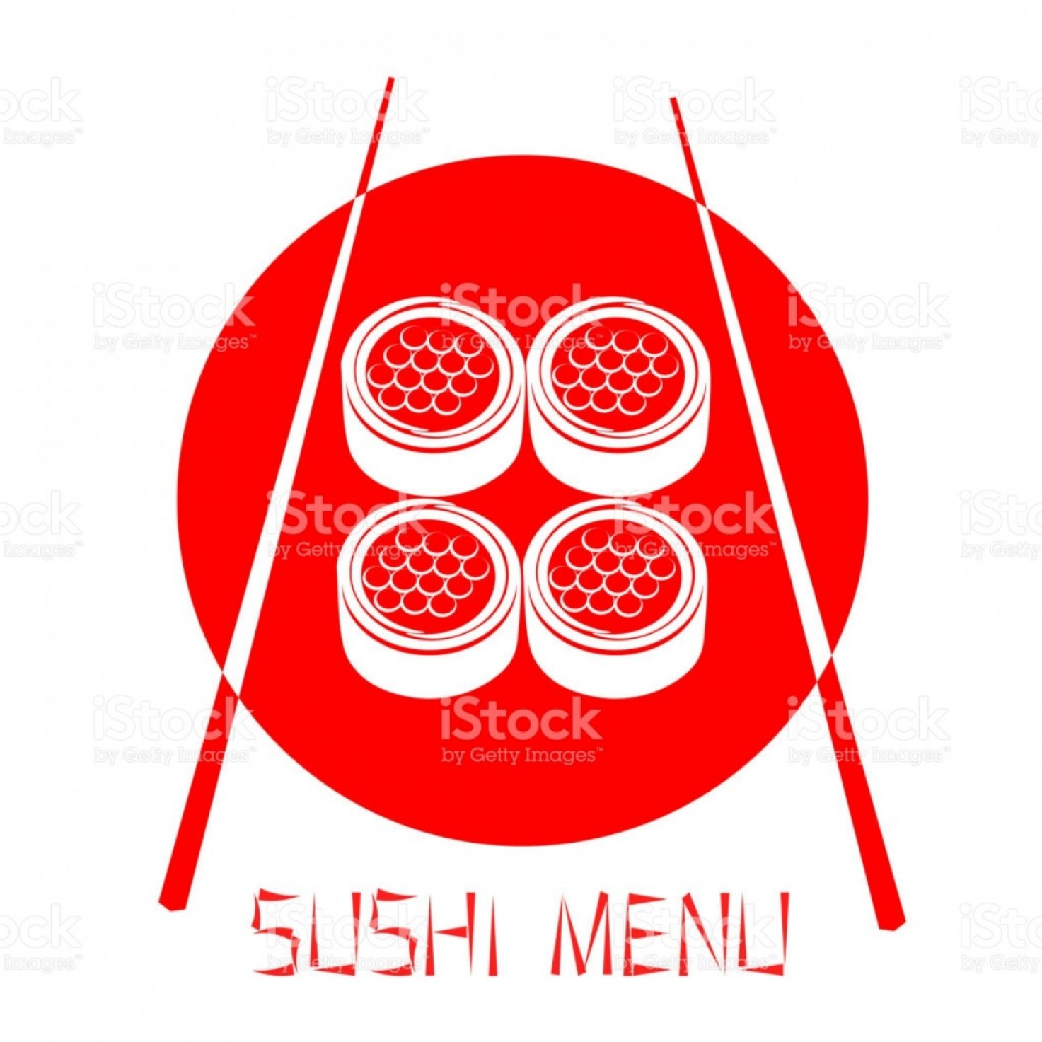 White Staples Vector Logo: Red Logo Of The Japanese Restaurant Sushi With Red Caviar Isolated On White Gm