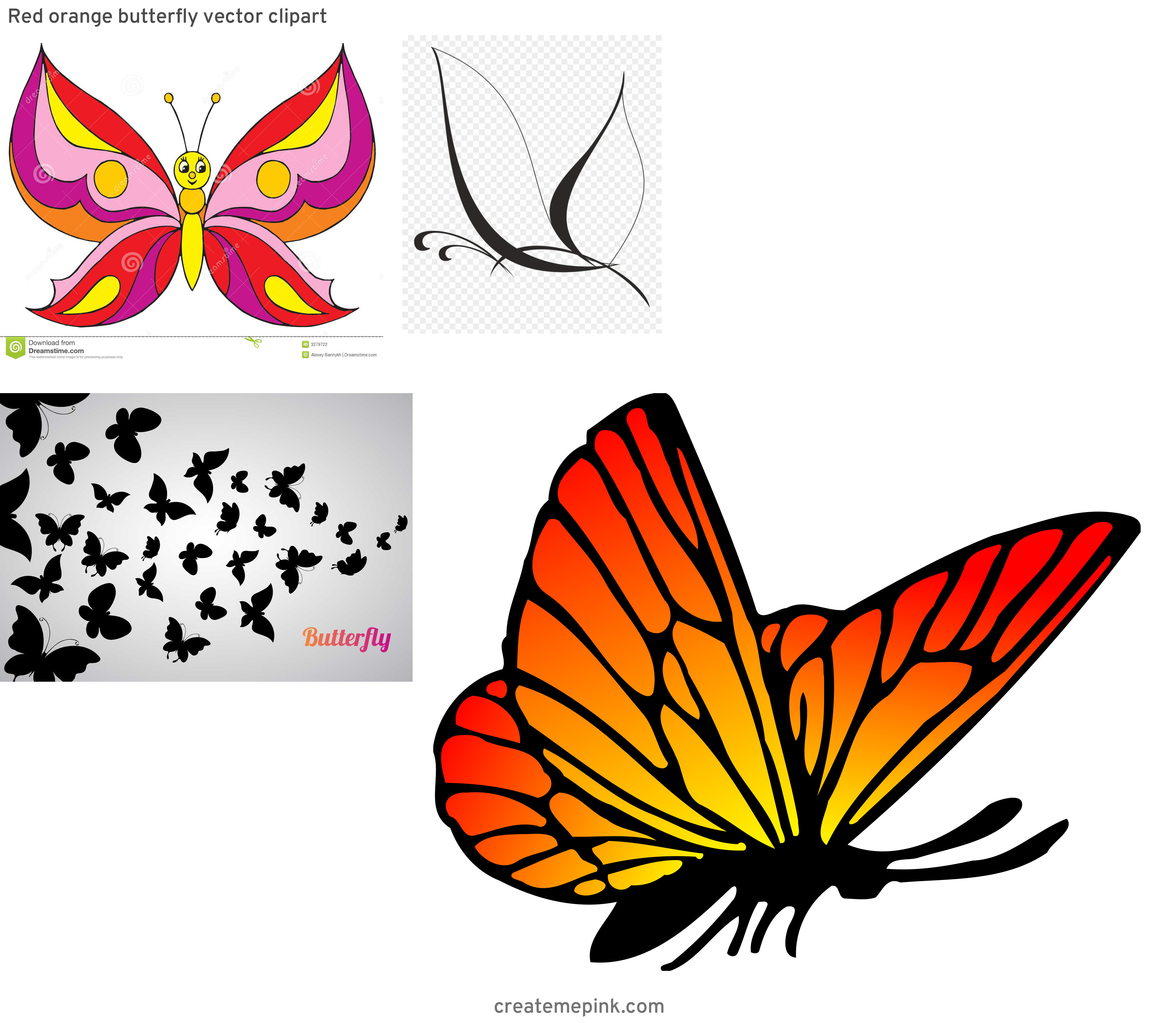 Butterfly Vector Graphics Clip Art: Red Orange Butterfly Vector Clipart