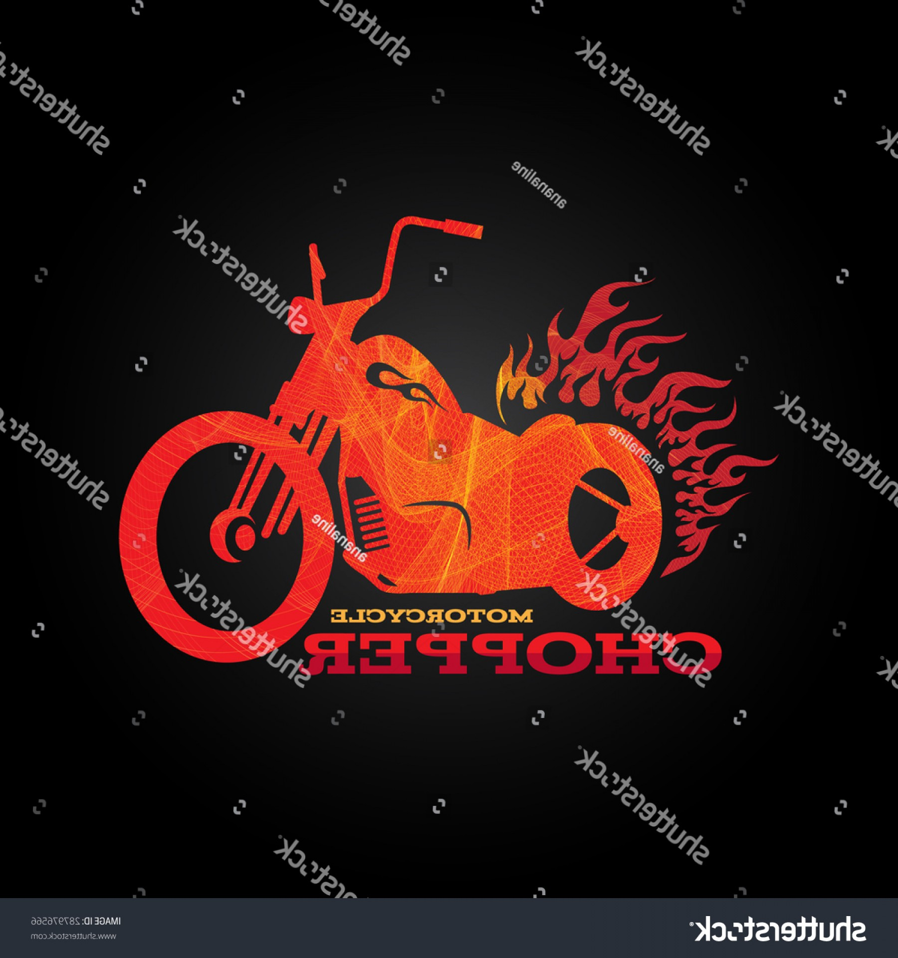 Harley-Davidson Flame Vector Silhouette: Red Orange Motorcycle Chopper Line Blend