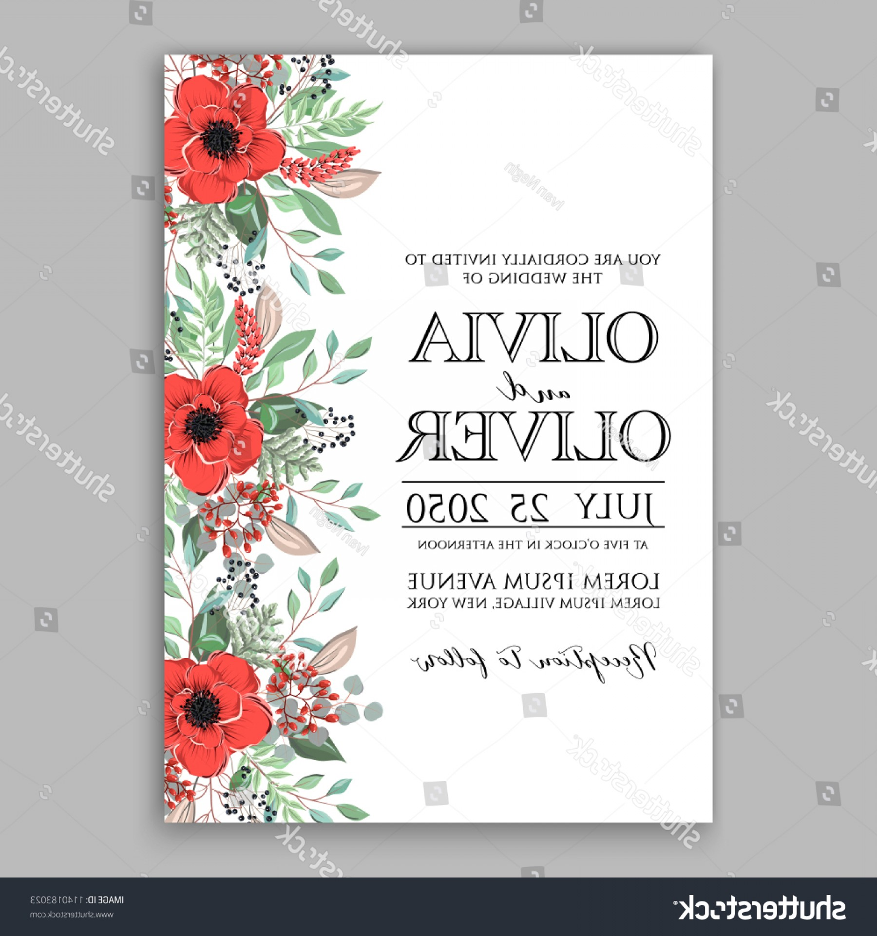 Rustic Wedding Invitation Vector: Red Poppy Greenery Rustic Wedding Invitation