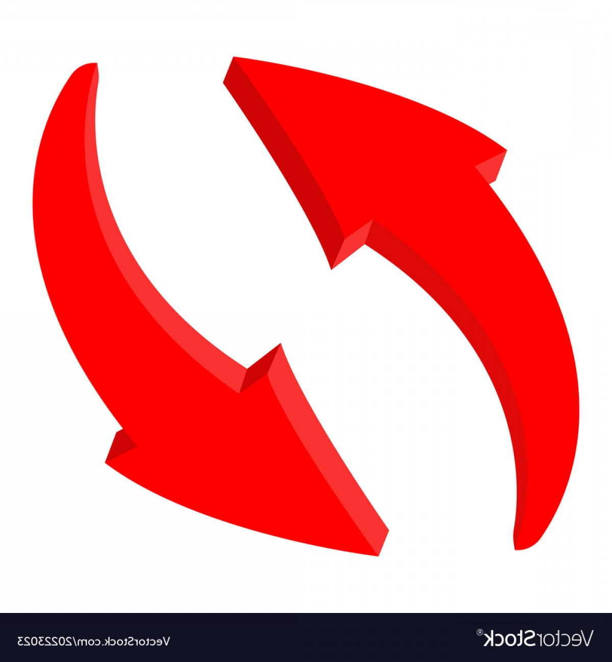 Recycle Icon Vector Red: Red Recycle Arrows Web D Icon Vector