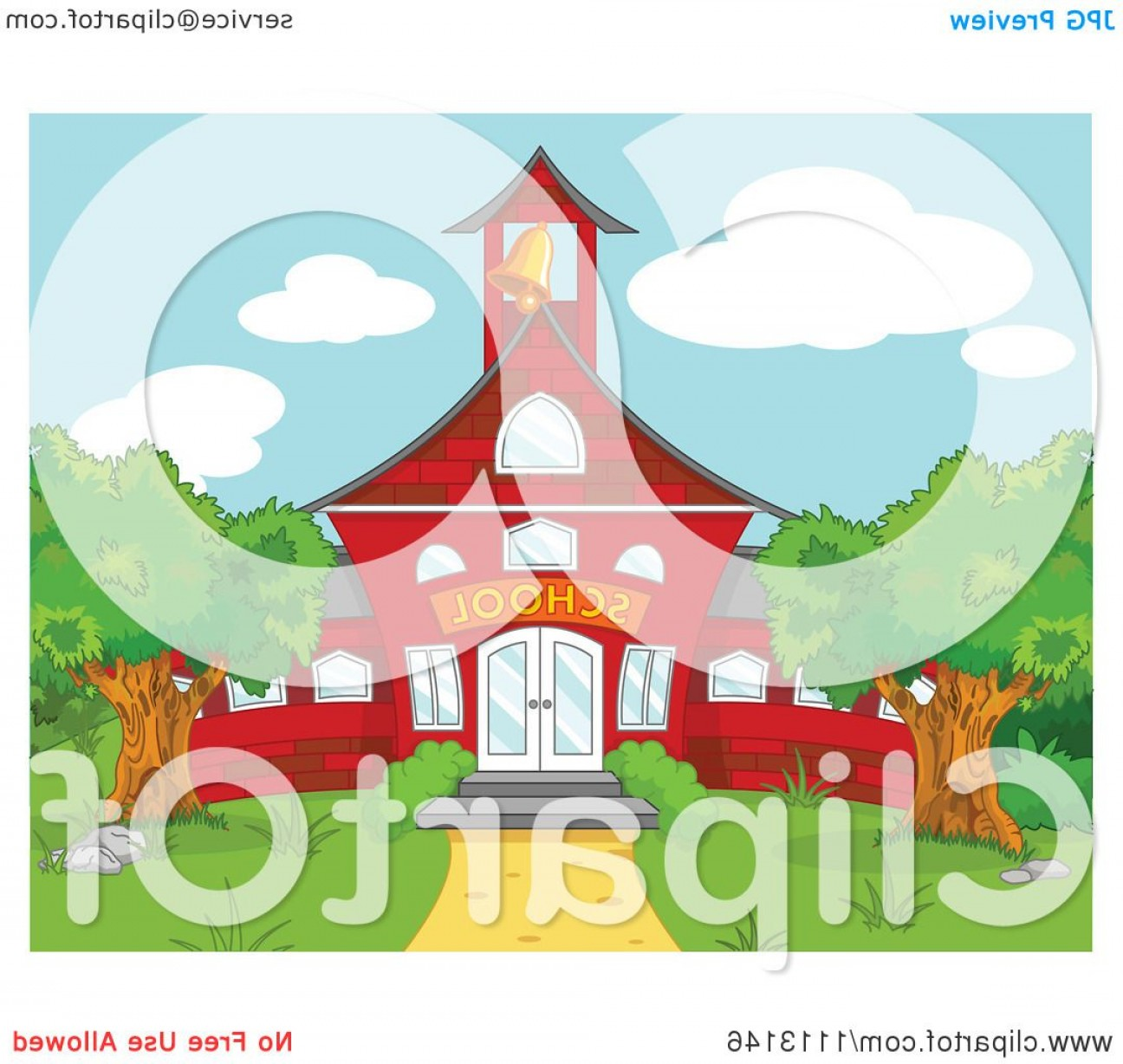 Vector Clip Art Red Schoolhouse: Red School House With A Ringing Bell