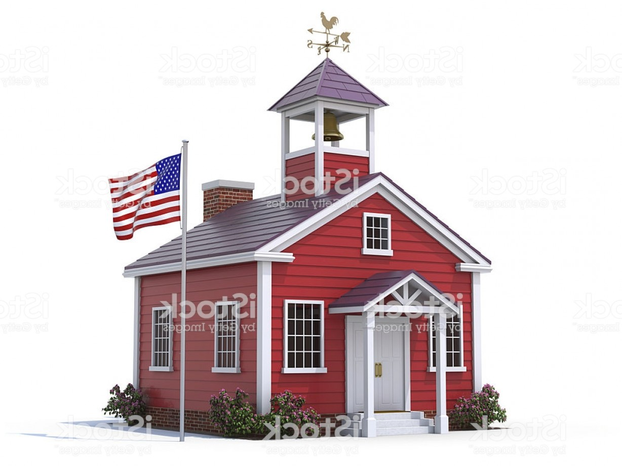 Vector Clip Art Red Schoolhouse: Red School House With American Flag Isolated On White Gm