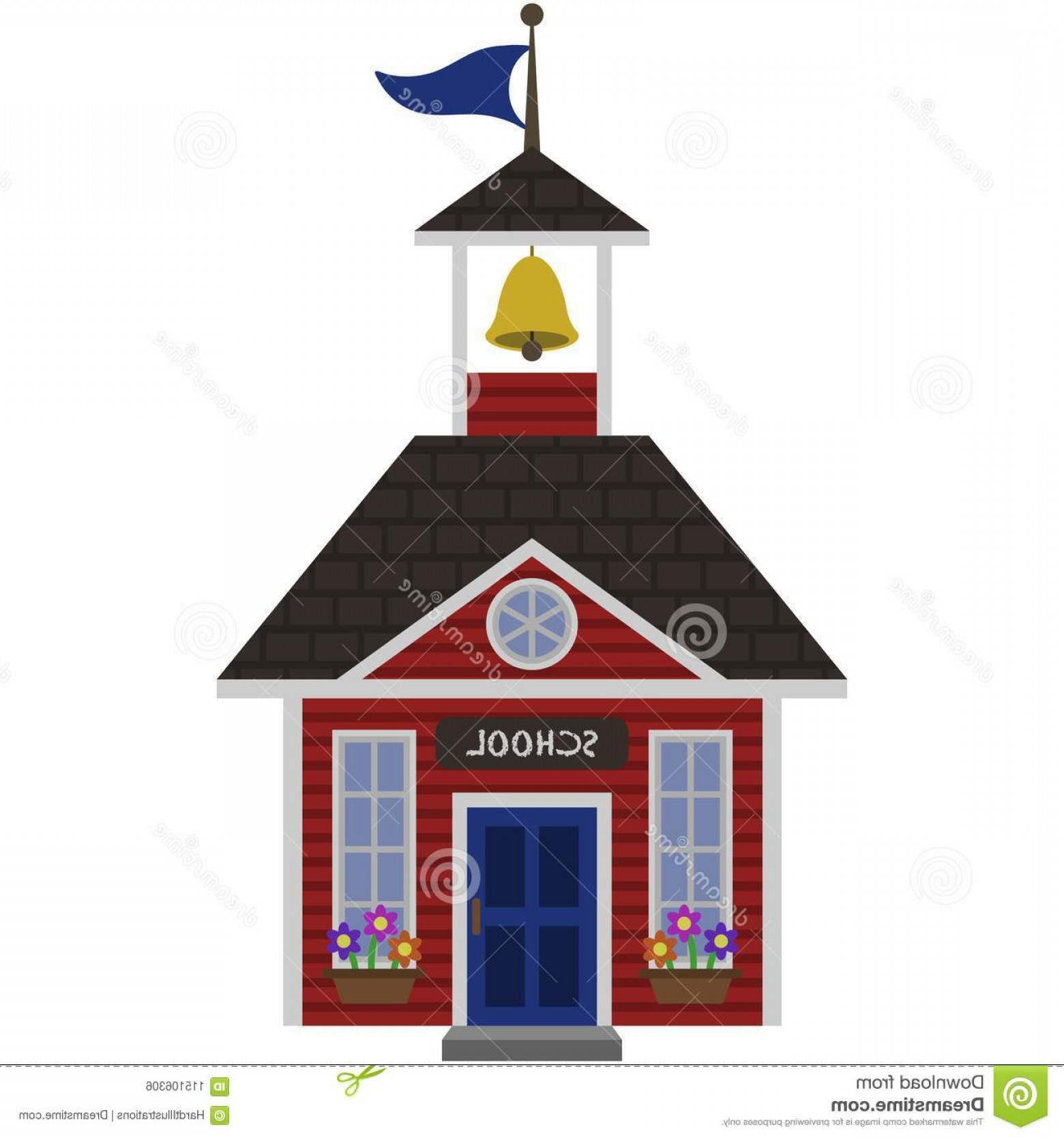 Vector Clip Art Red Schoolhouse: Red Schoolhouse Illustration Blue Door Bell Flag Isolated White Background Image