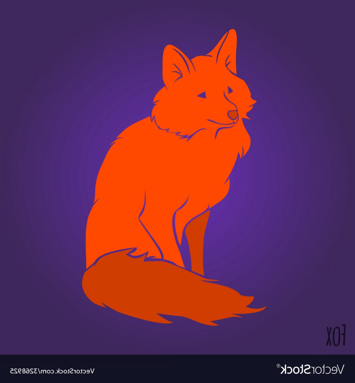 Sitting Fox Logo Vector: Red Sitting Fox Silhouette Vector