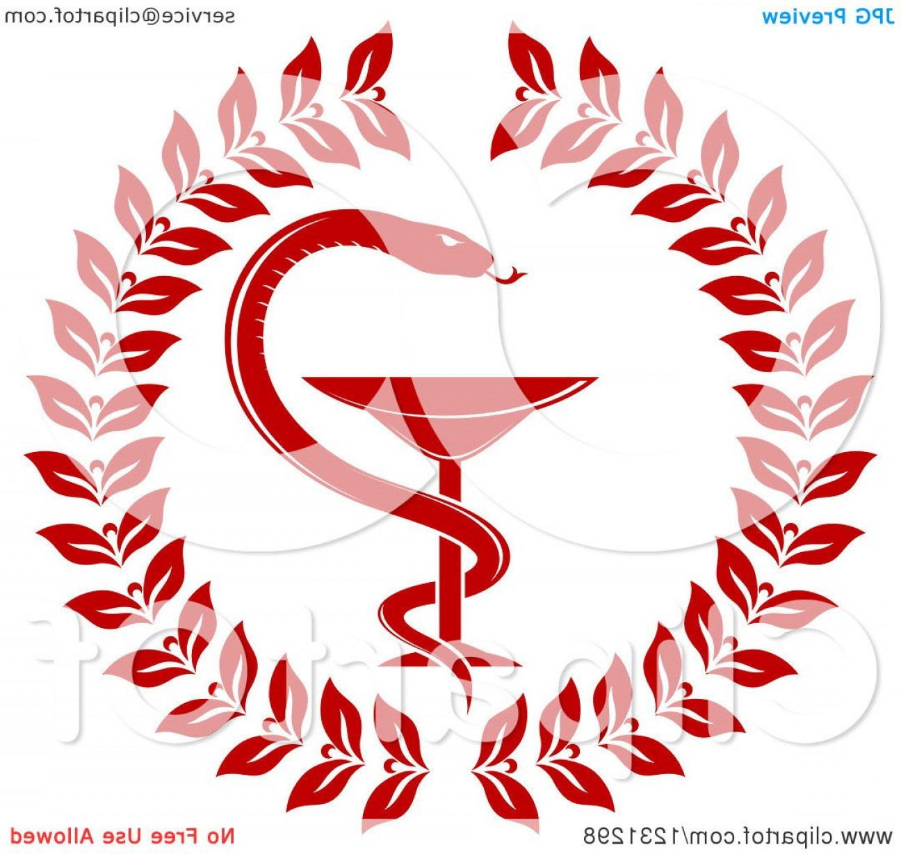 With Red Caduceus Vector: Red Snake And Medical Caduceus With A Wreath