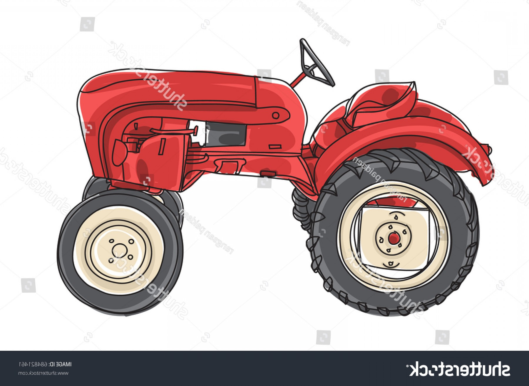 Vintage Tractor Vector Art: Red Tractor Vintage Hand Drawn Vector