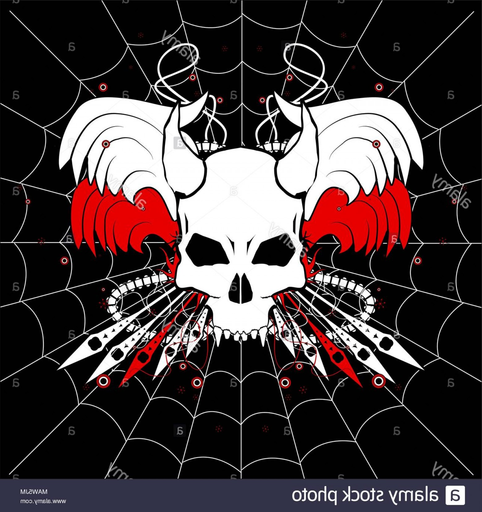 Red Black And White Vector Art: Red White And Black Vector Web Skull Emblem Horizontal Image