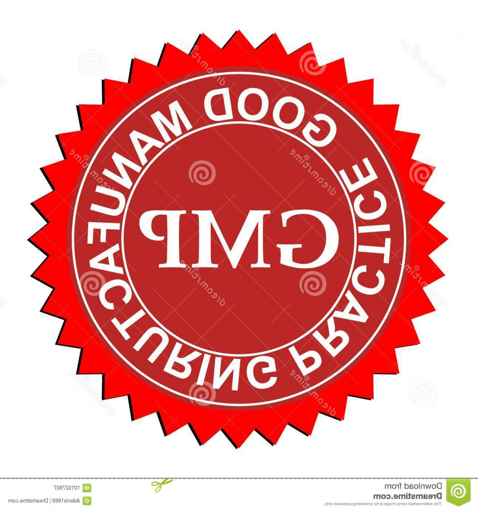 GMP Logo Vector: Red White Seal Stamp Graphic White Text Gmp Good Manufacturing Practice Good Manufacturing Practice Logo Image