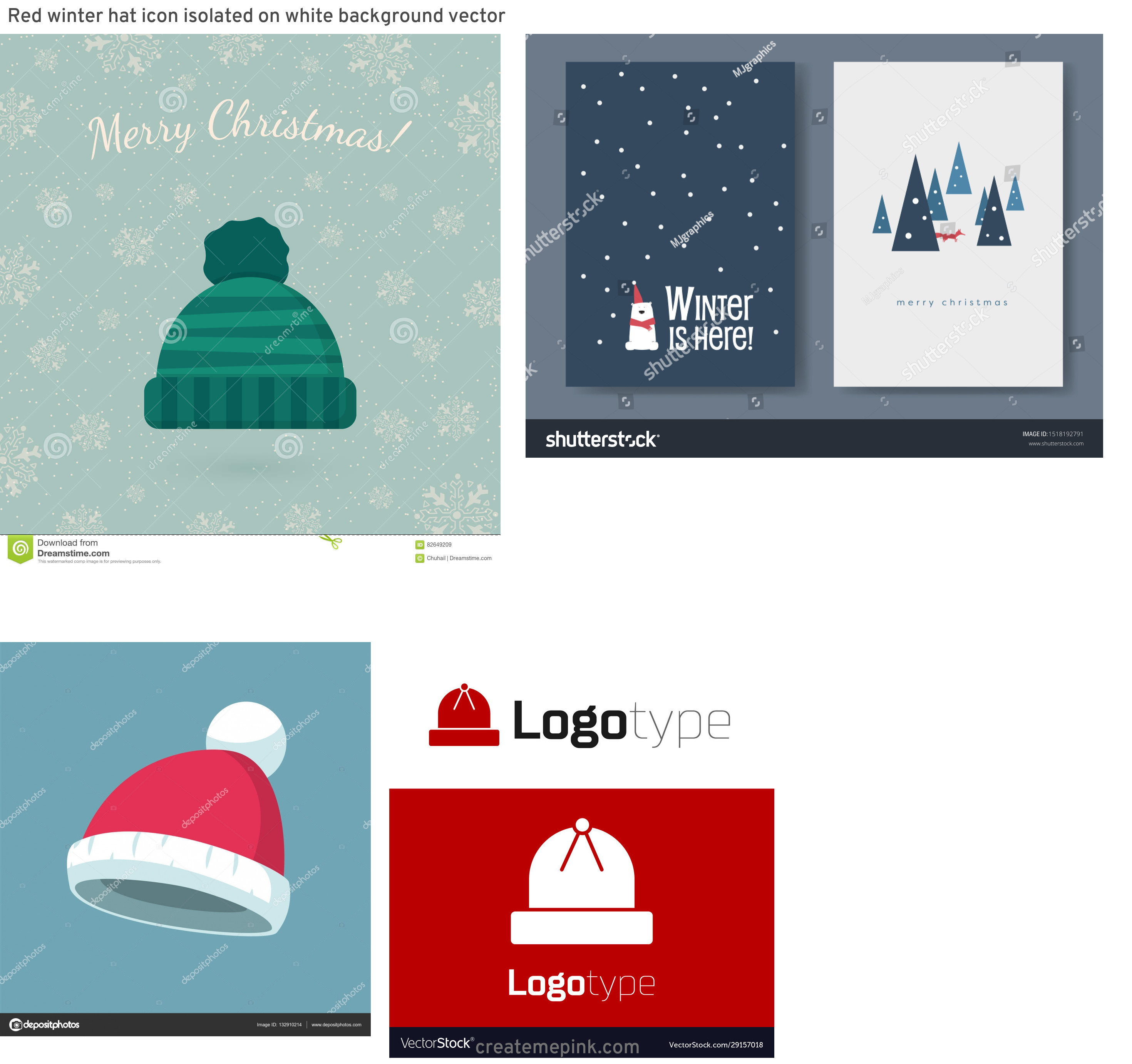 Winter Hat Vectors Templates: Red Winter Hat Icon Isolated On White Background Vector