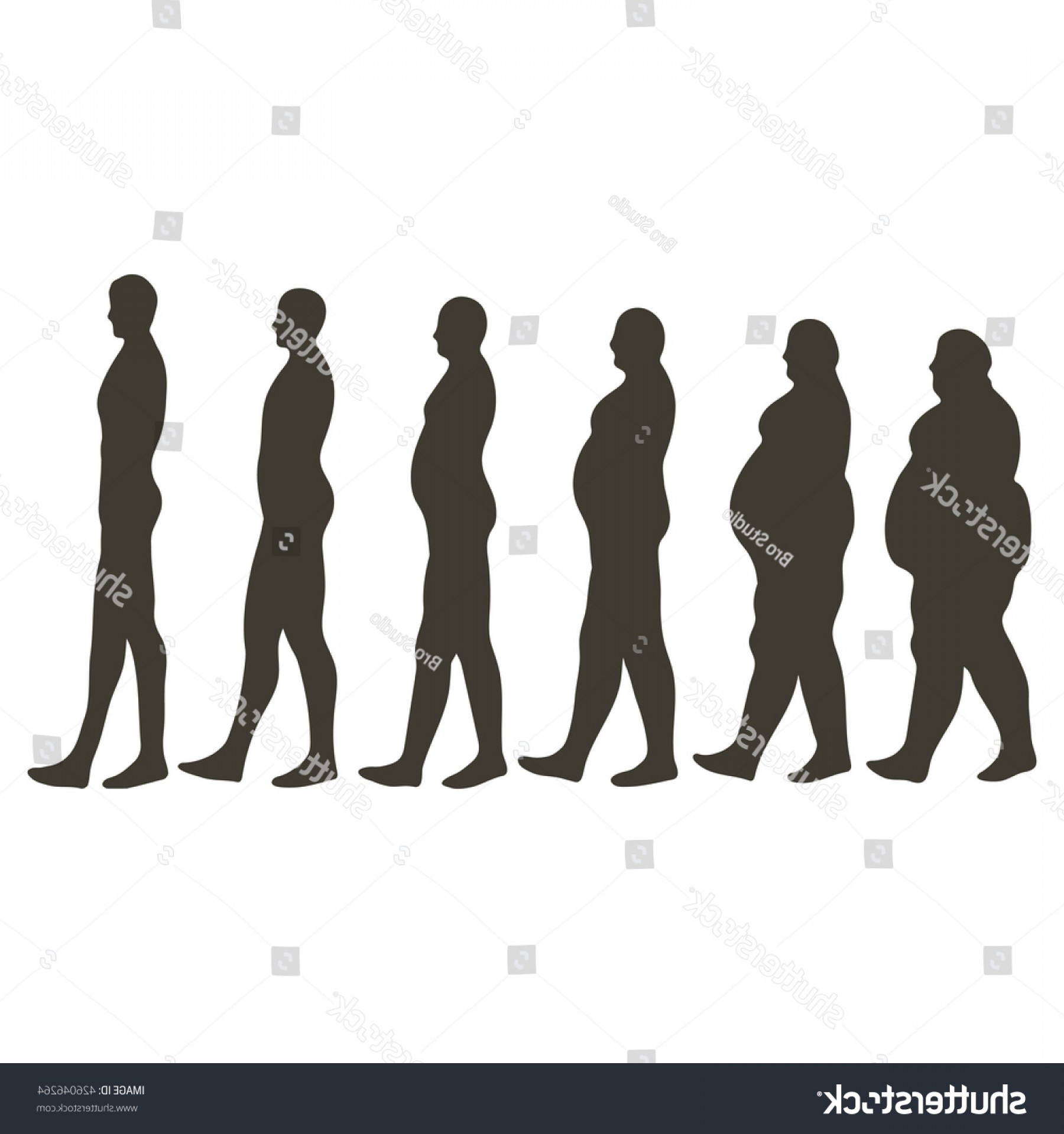 Growth Vector People: Reducing Persons Weight Height Silhouettes Human