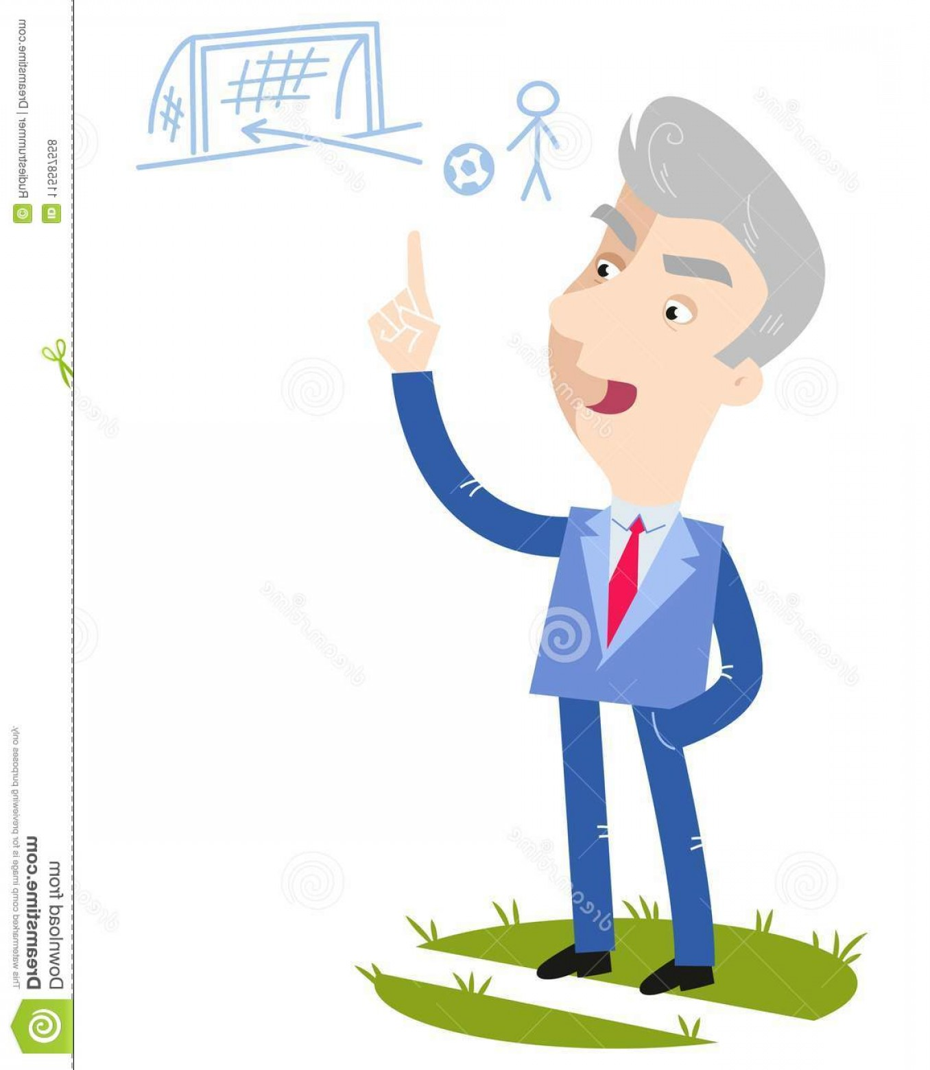 Vector Straightforward: Relaxed Old Cartoon Football Coach Wearing Blue Suit Giving Simple Straightforward Instructions Sideline Relaxed Old Image