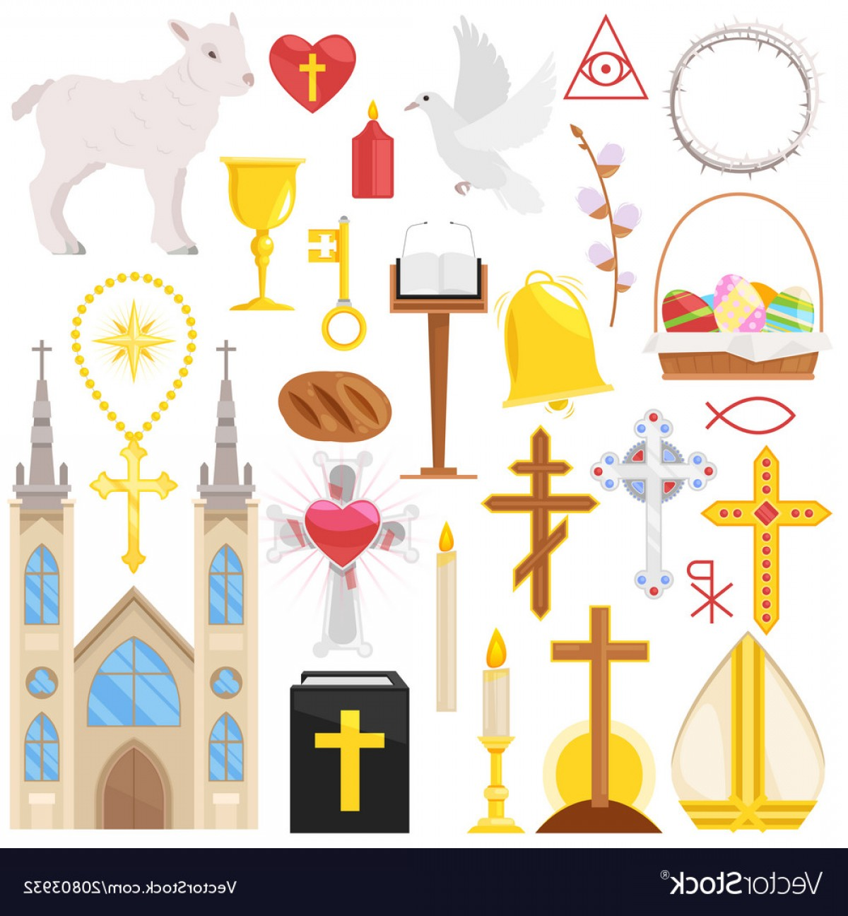 Catholic Clip Art Vector: Religion Catholic Church Or Cathedral And Vector