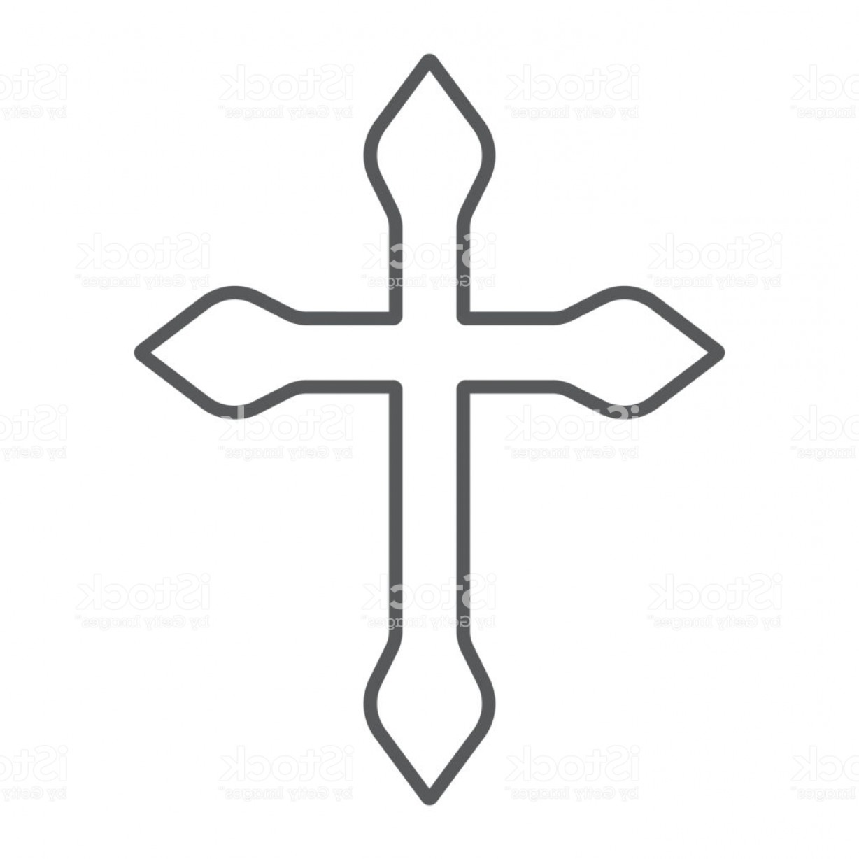 Catholic Clip Art Vector: Religion Cross Thin Line Icon Christian And Catholic Crucifix Sign Vector Graphics Gm