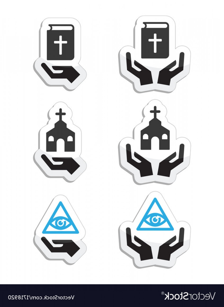Vector Religion: Religion Icons Hands With Bible Church Vector