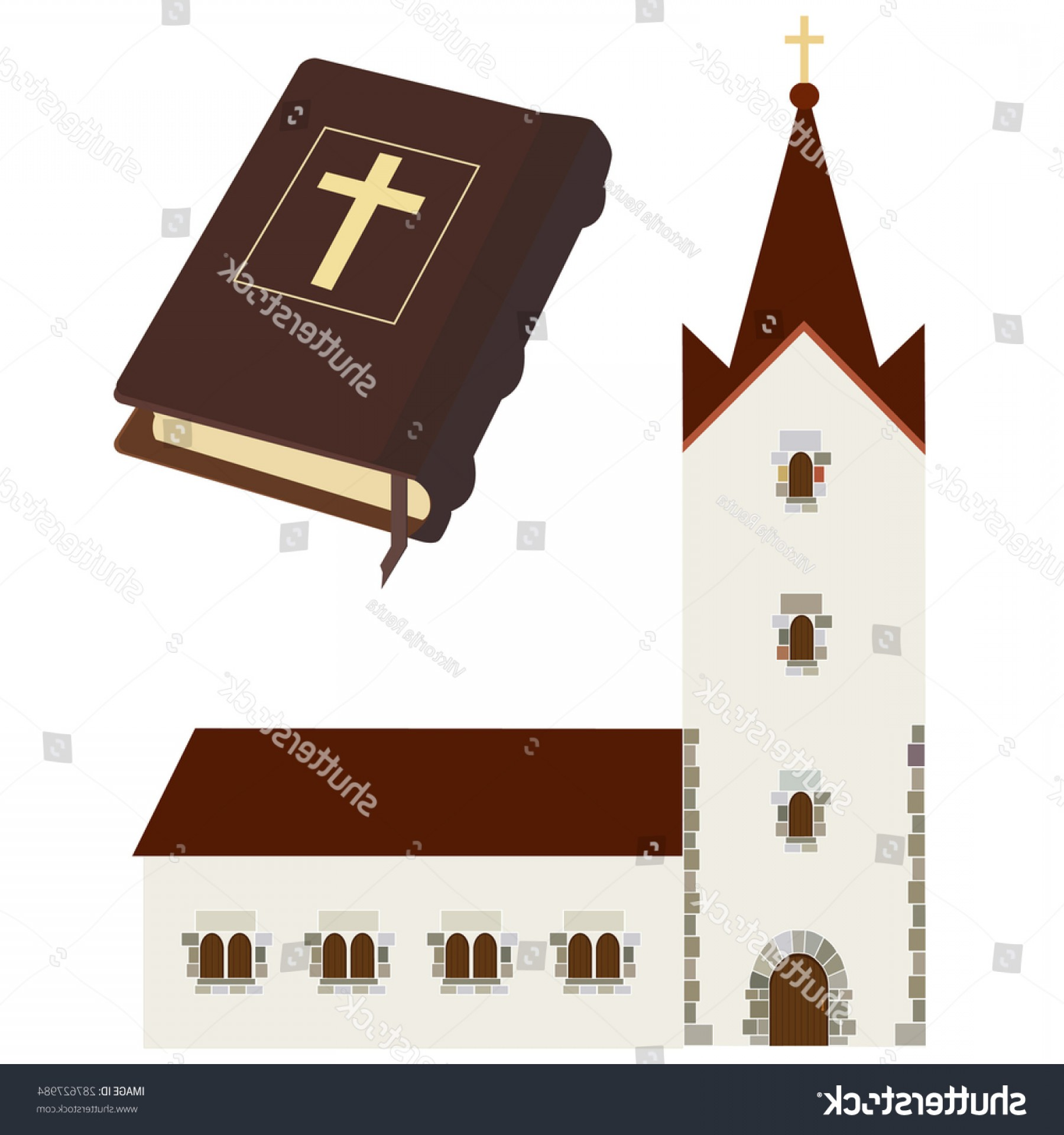 Holy Bible Vector: Religious Set Church Holy Bible Vector