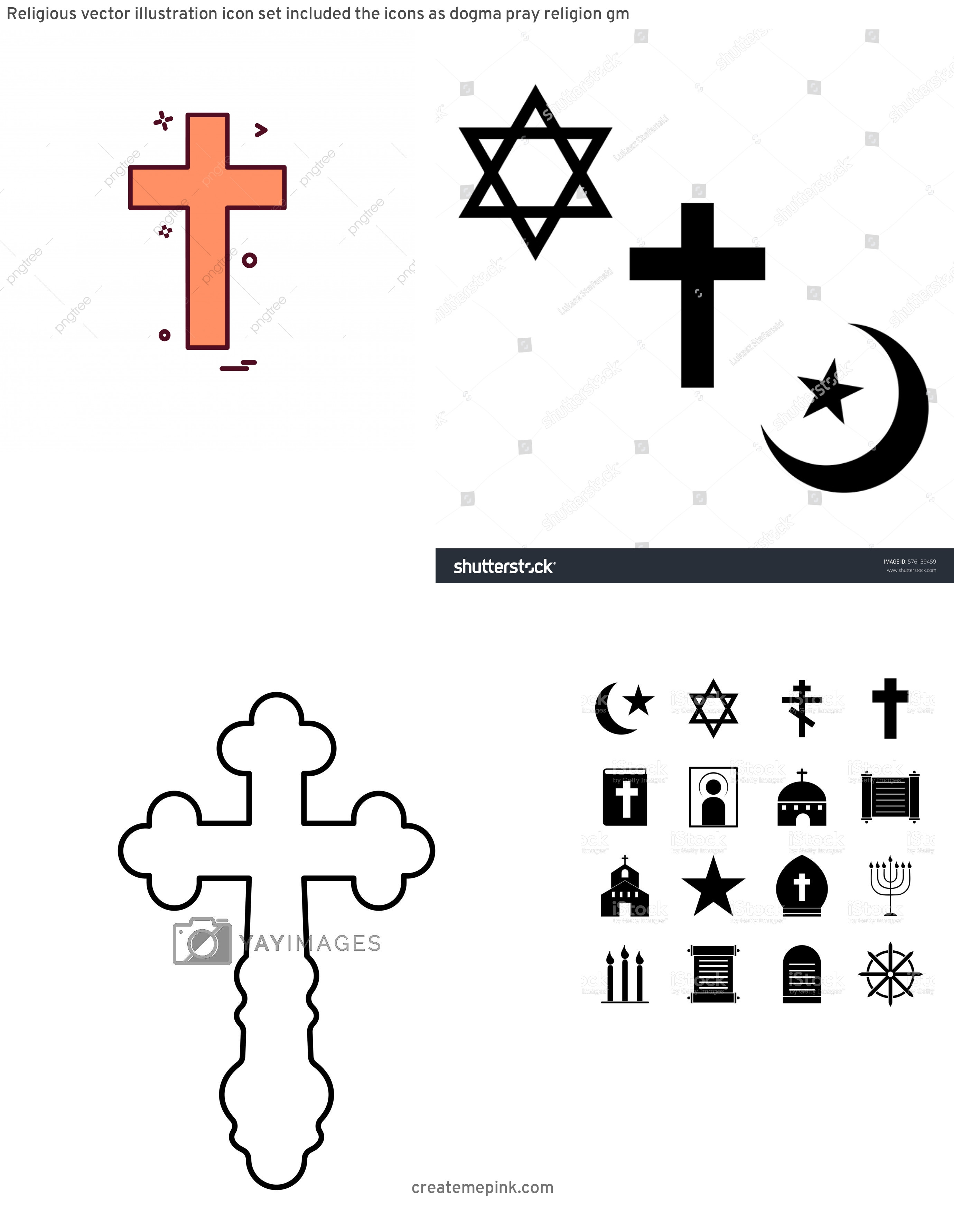 Religous Vectors: Religious Vector Illustration Icon Set Included The Icons As Dogma Pray Religion Gm