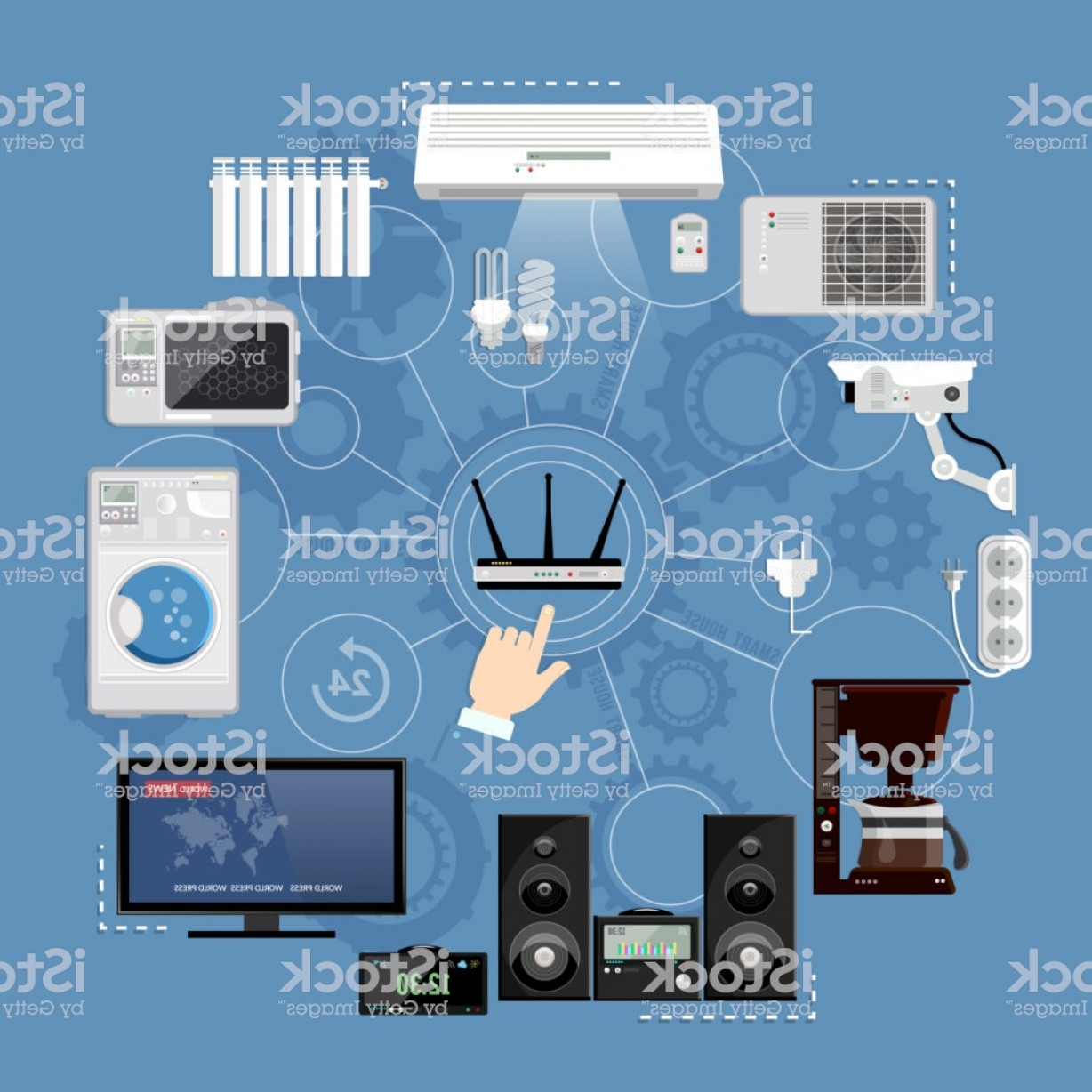 Smart Home Remote Vector: Remote Home Control System Smart House Infographic Modern Technologies For Household Gm