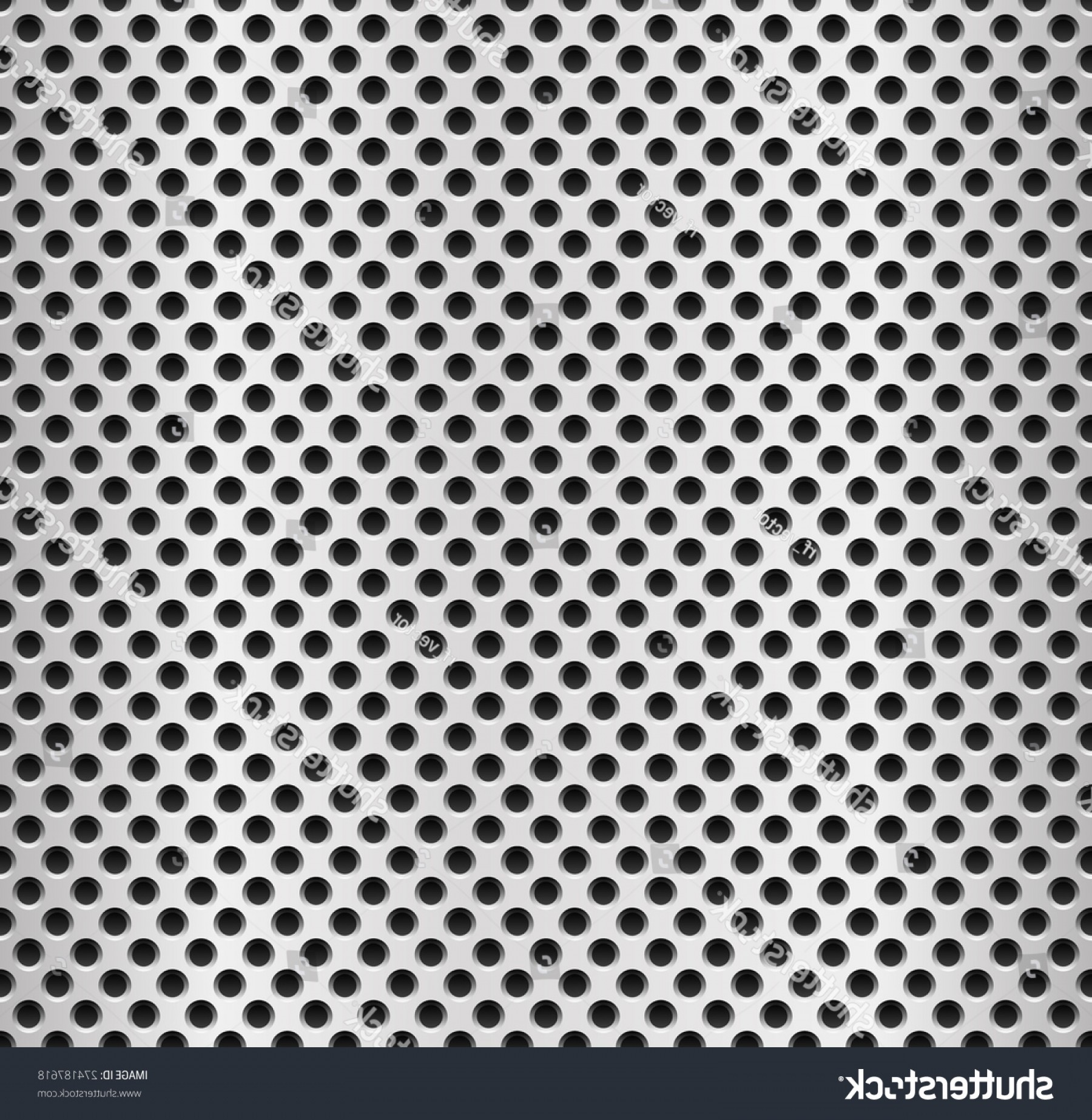 Sheet Metal Effect Vector: Repeatable Metal Pattern Sheet Perforated Punched