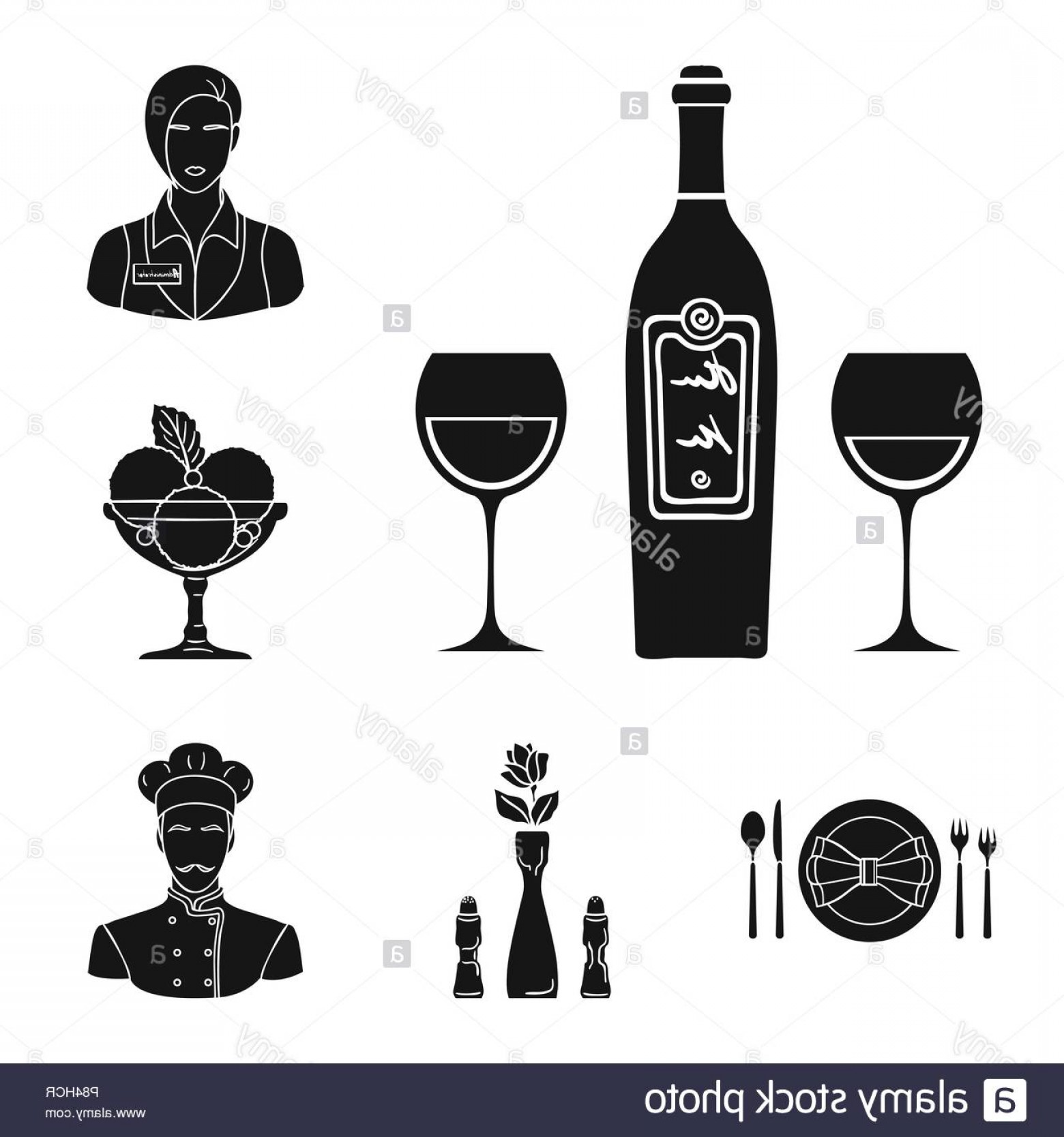 Alcohol Vector: Restaurant And Bar Black Icons In Set Collection For Design Pleasure Food And Alcohol Vector Symbol Stock Illustration Image