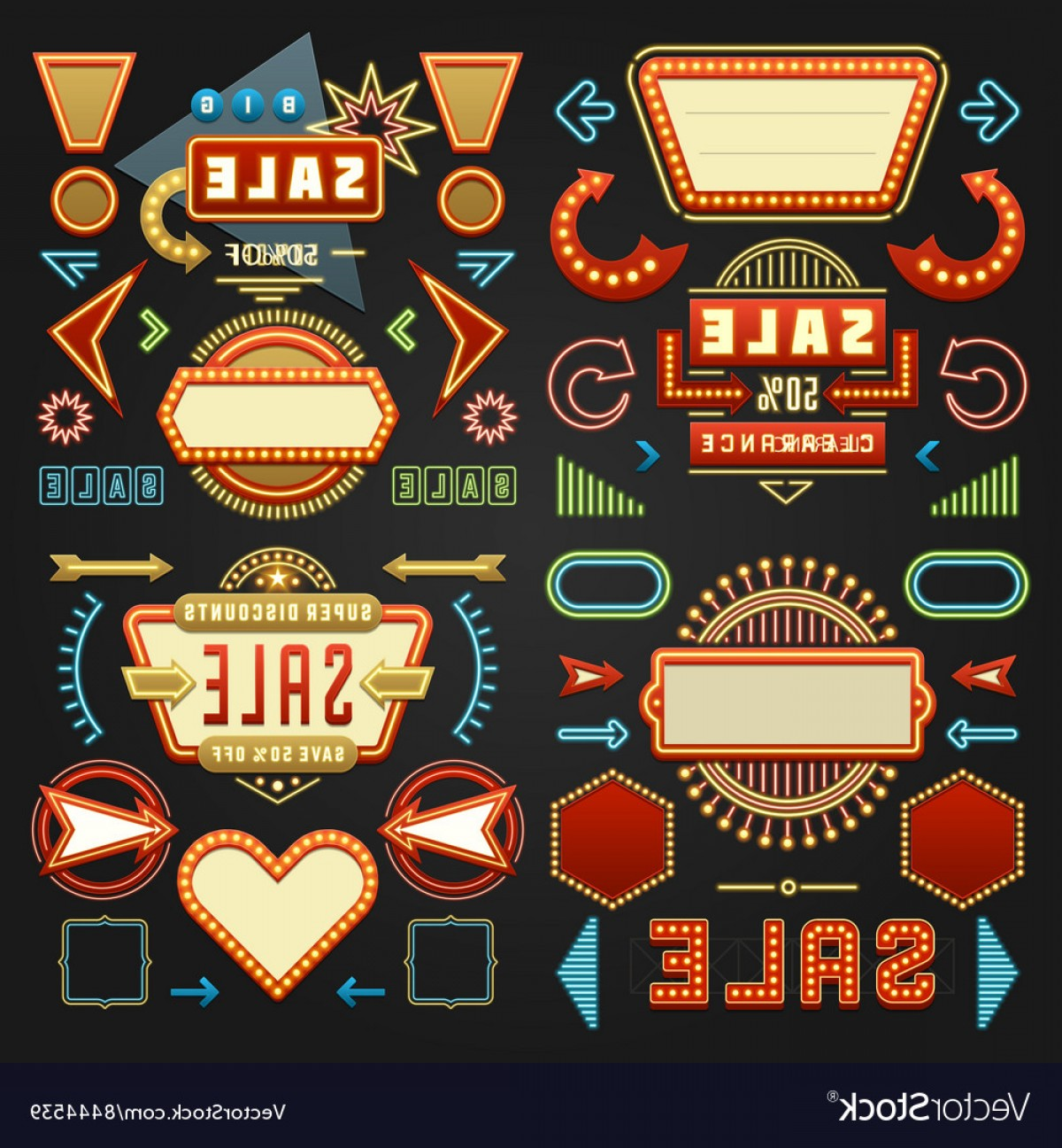 1950 Vector Frame: Retro American S Sign Design Elements Set Vector