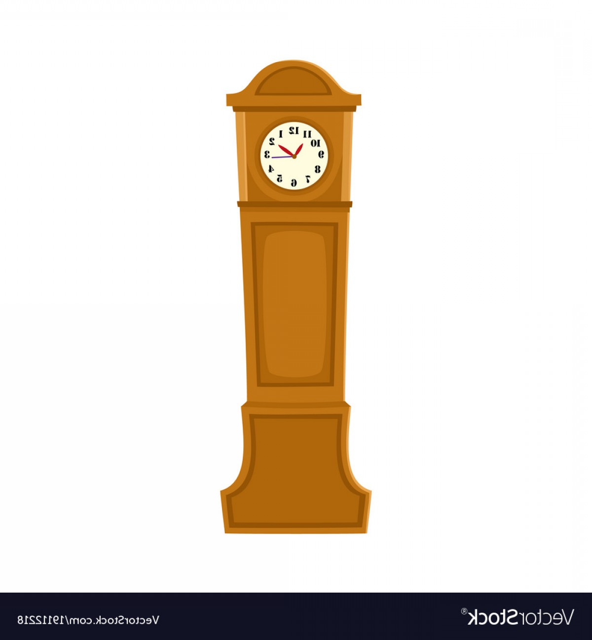 Old Floor Clock Vector: Retro Antique Grandfather Clock In Wooden Case Vector