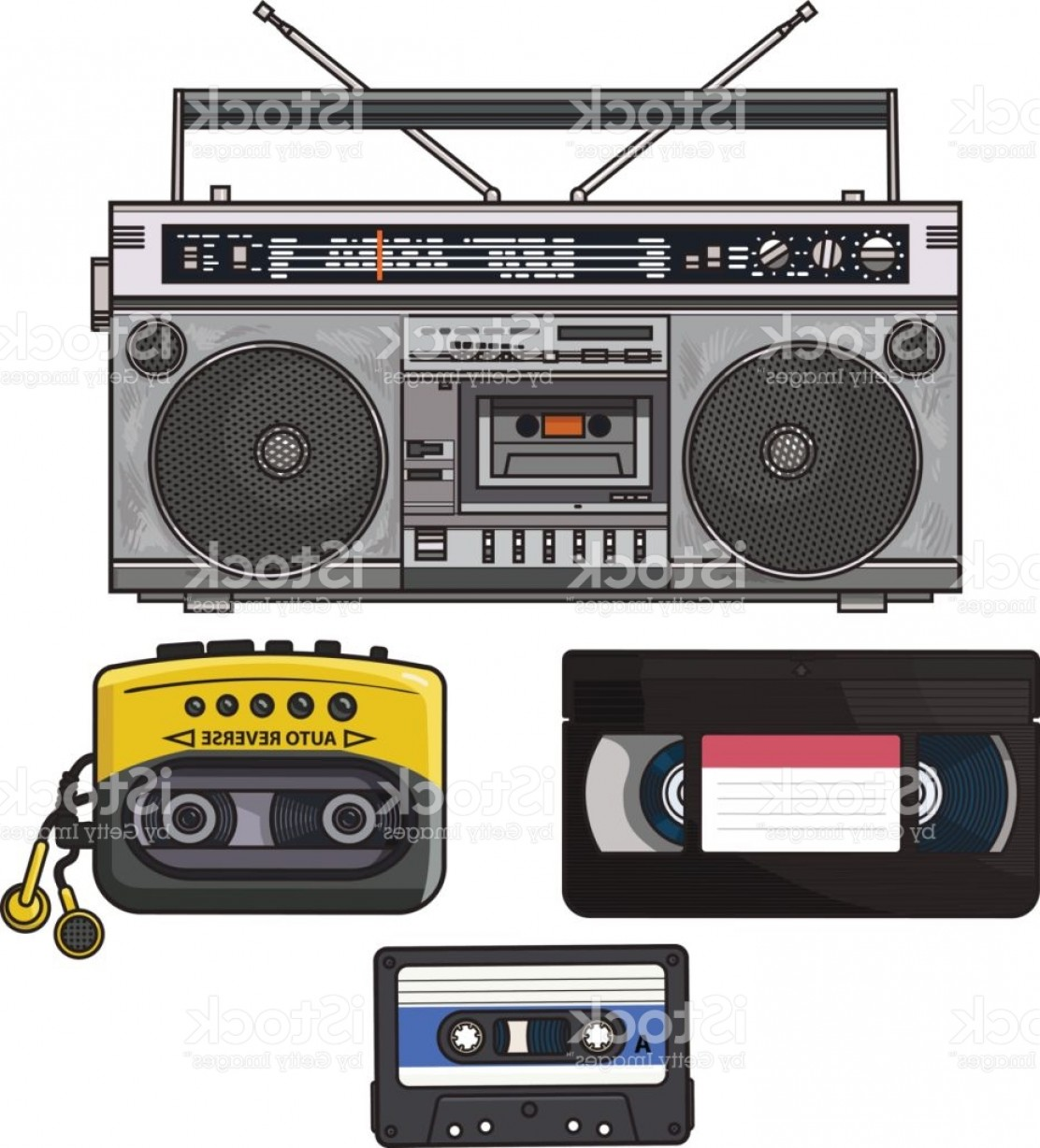 Audio Cassette Vector: Retro Audio Cassette Tape Recorder Music Player Videotape From S Gm