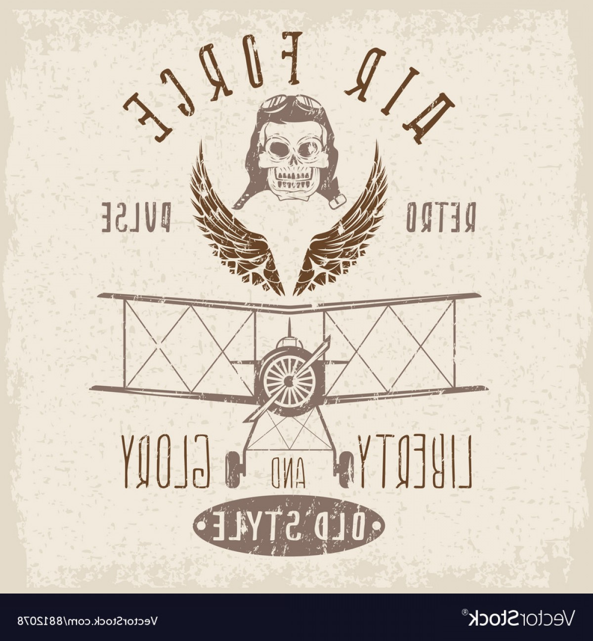 Army Aviator Wings Vector: Retro Aviation Grunge Design With Skullairplane Vector