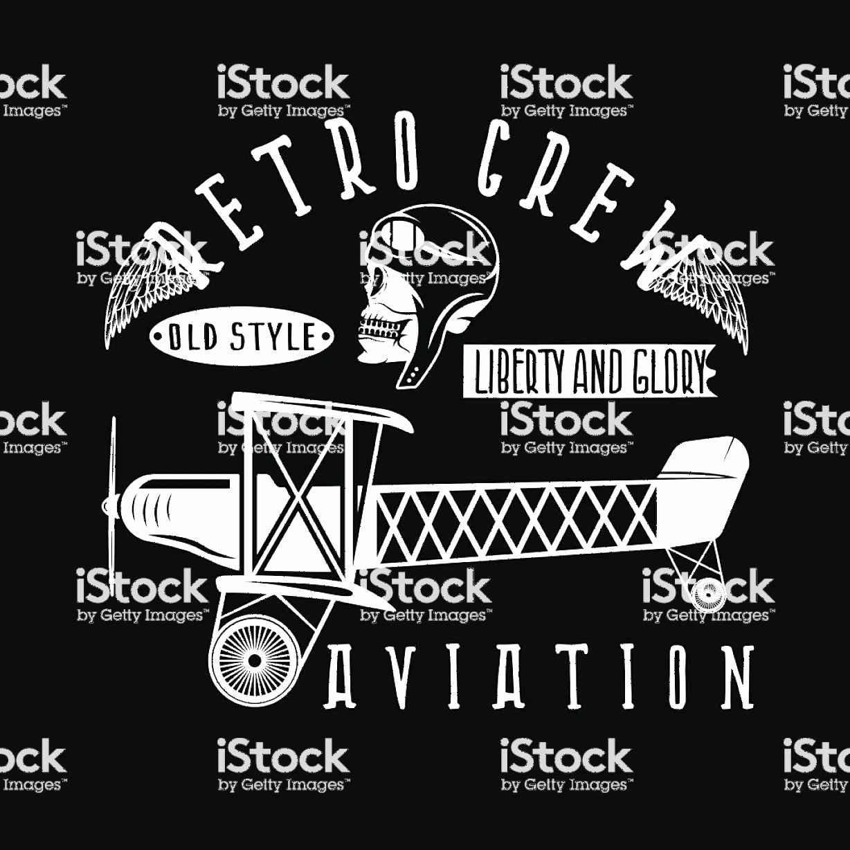 Aviation Vector Designs: Retro Aviation Vector Design With Skull Airplane And Wings Gm