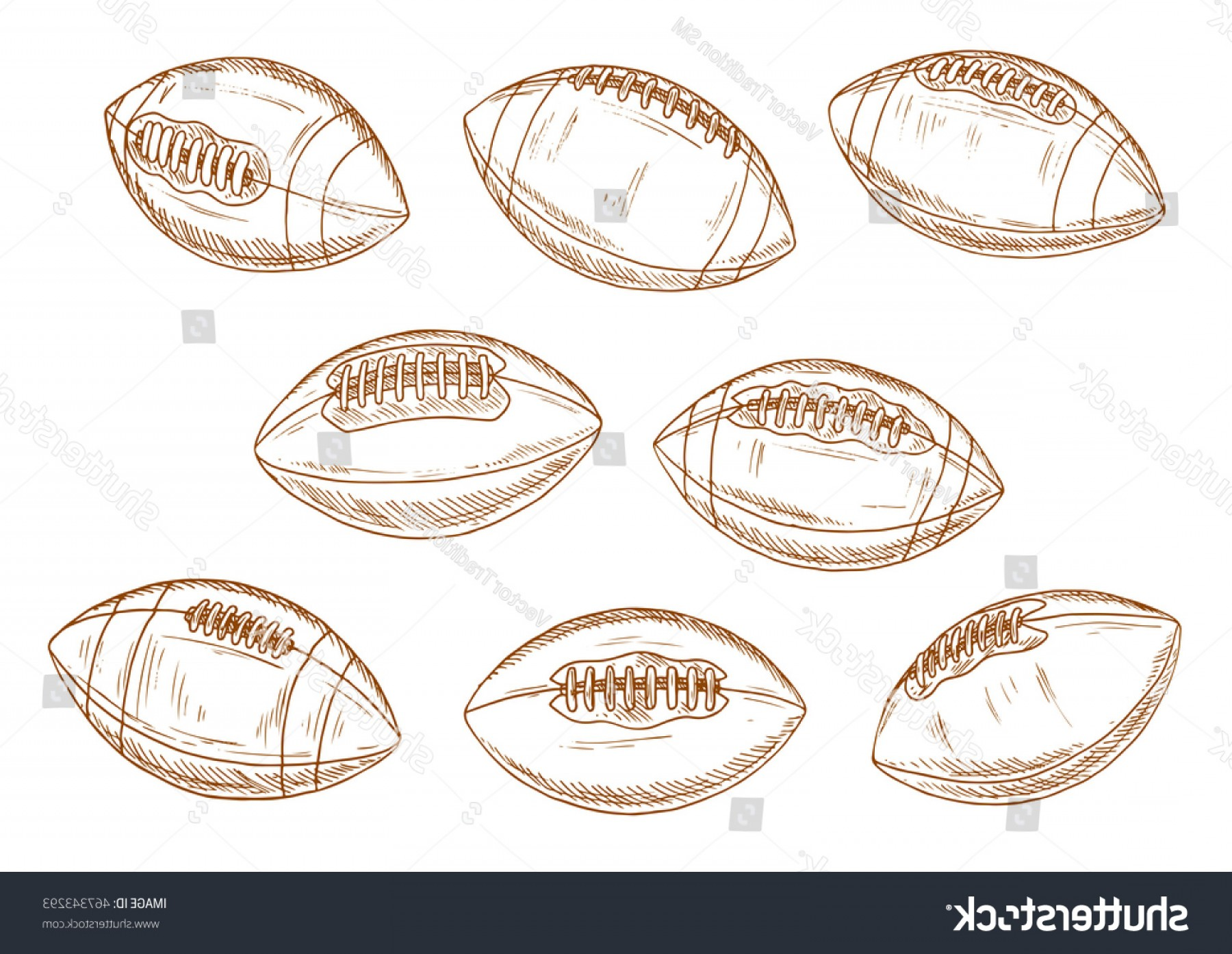 Vector Football Laces And Lines: Retro Balls American Football Game Brown