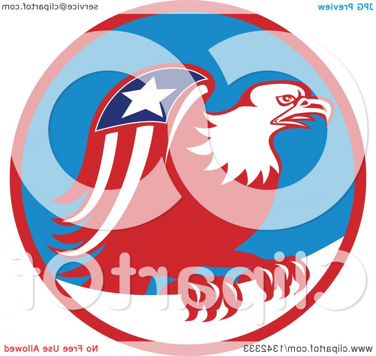 Patriotic Bald Eagle Vector: Retro Cartoon American Bald Eagle With A Patriotic Wing In A Red Blue And White Circle