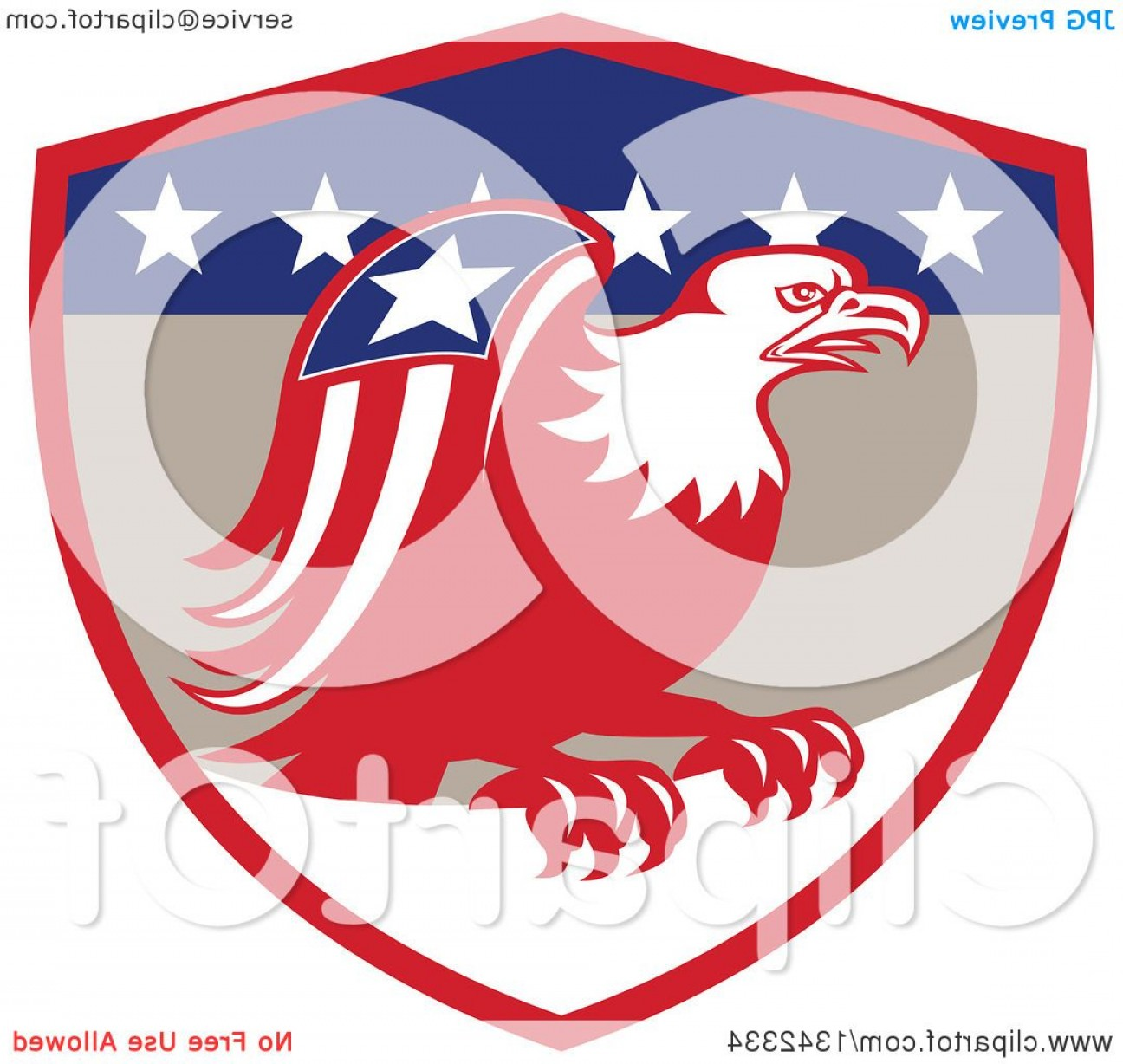 Patriotic Bald Eagle Vector: Retro Cartoon American Bald Eagle With A Patriotic Wing In A Red Tan Blue And White Shield