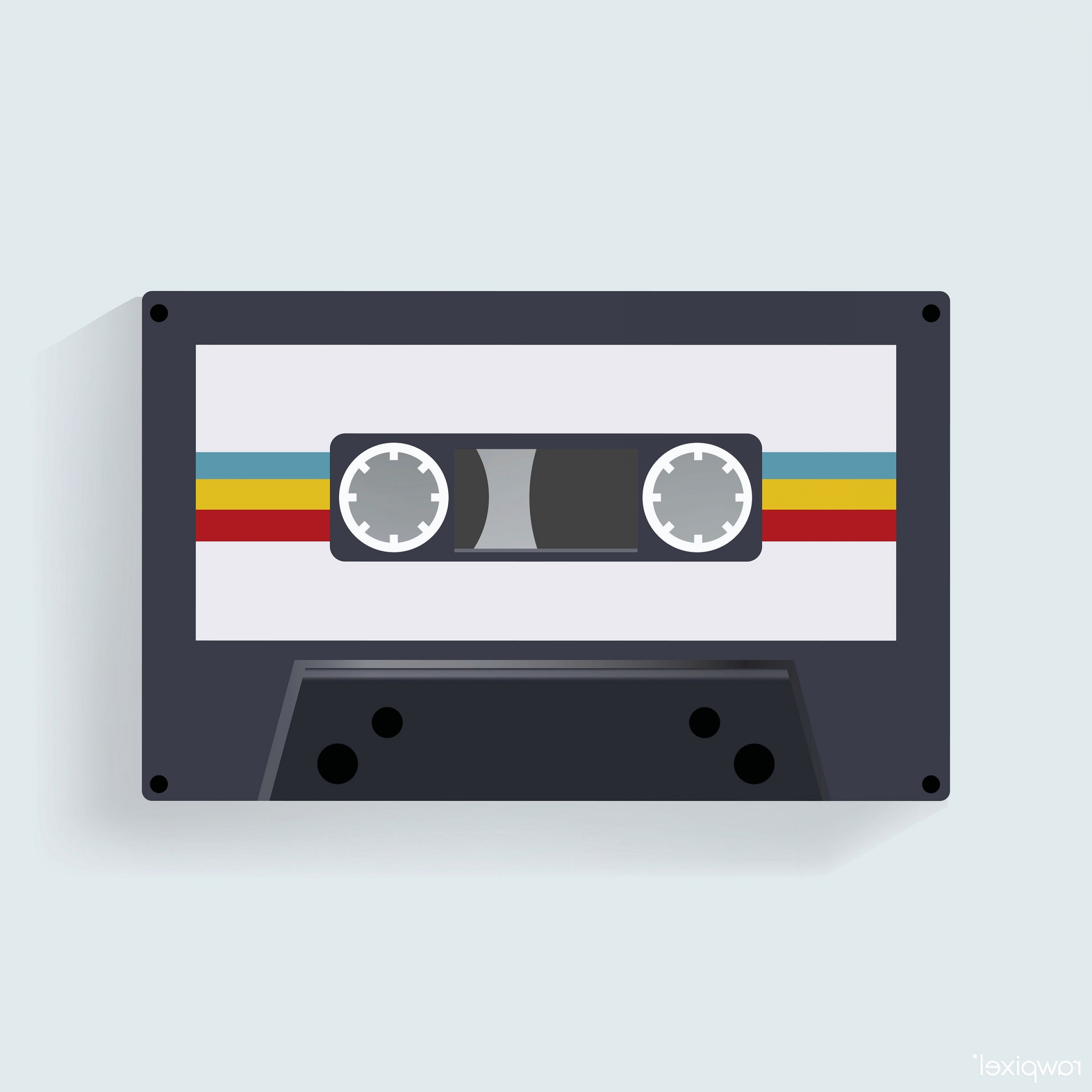 Audio Cassette Vector: Retro Cassette Tape Music Record Icon Illustration Vector