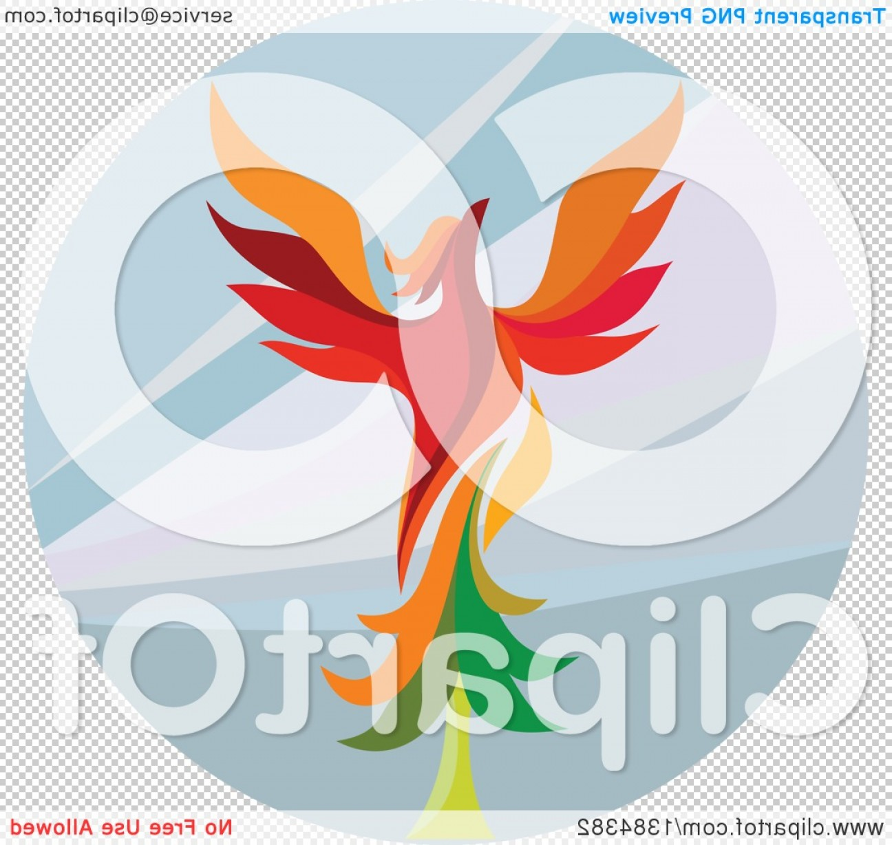 Firebird Vector Transparent Background: Retro Colorful Flying Phoenix Bird Over A Circle