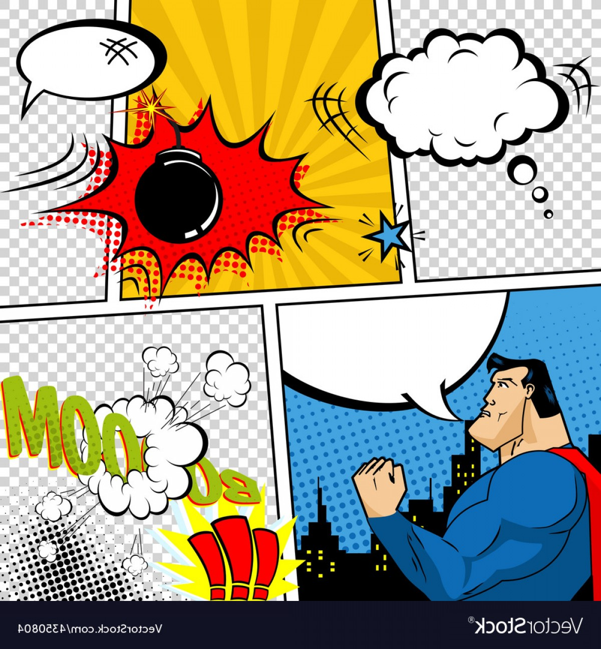 Comic Book Vector Graphics: Retro Comic Book Speech Bubbles Vector