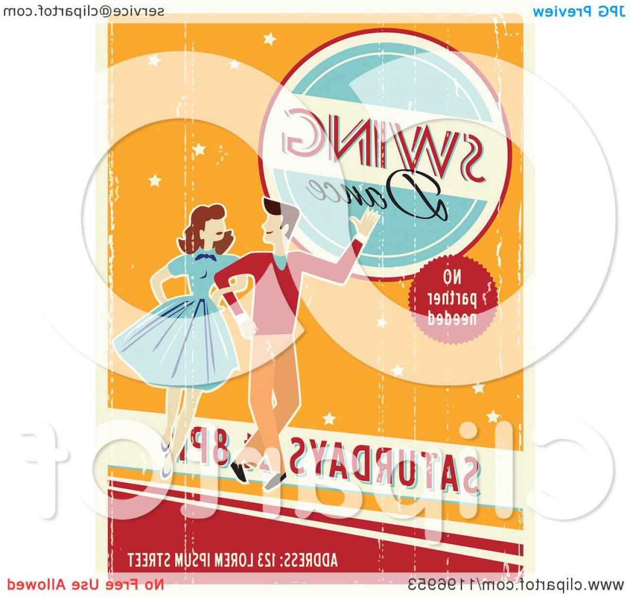 Vector Swing Dancers: Retro Distressed Swing Dance Poster With Sample Text