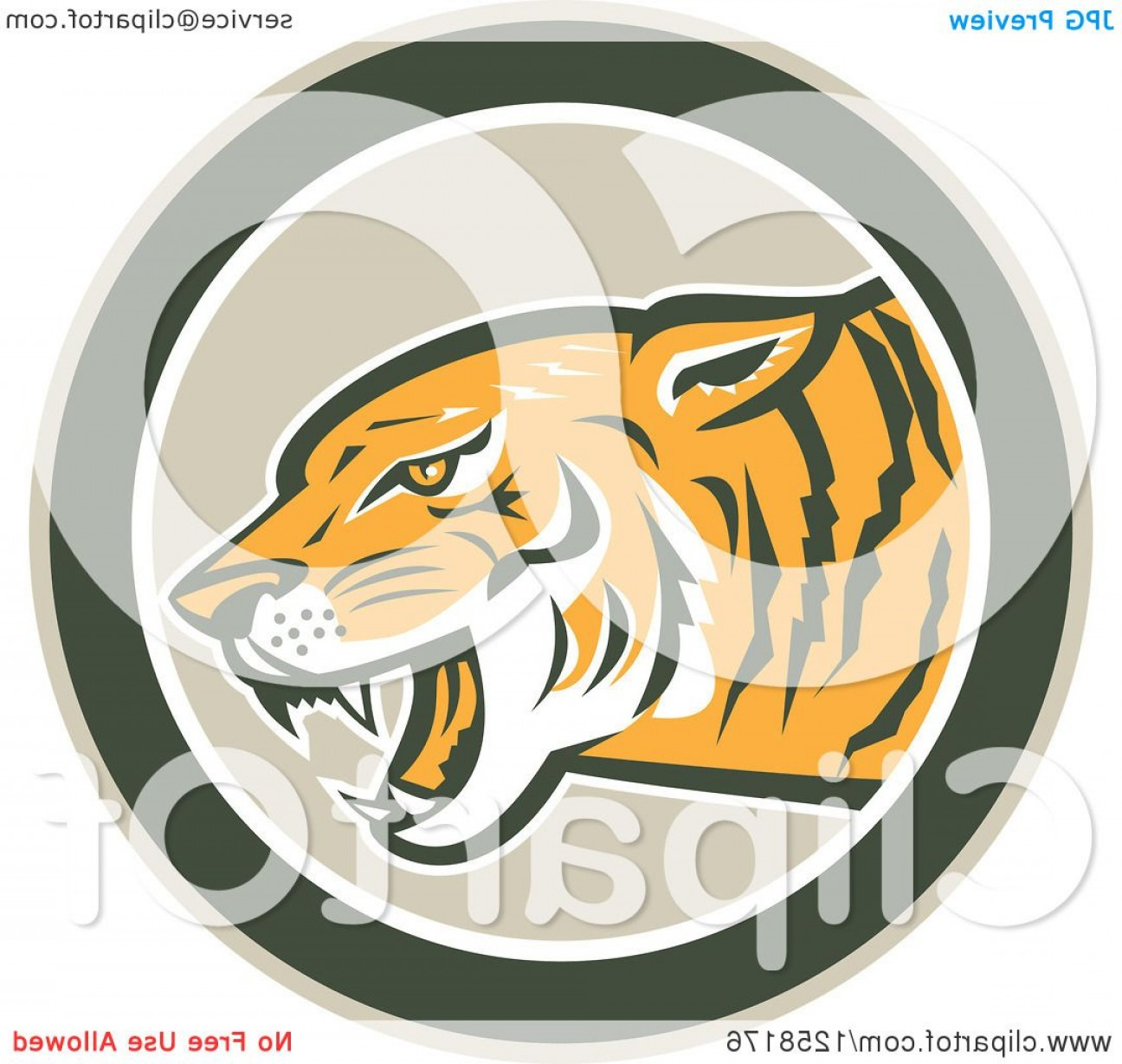Green Tiger Vector: Retro Growling Tiger Head In A Green Circle