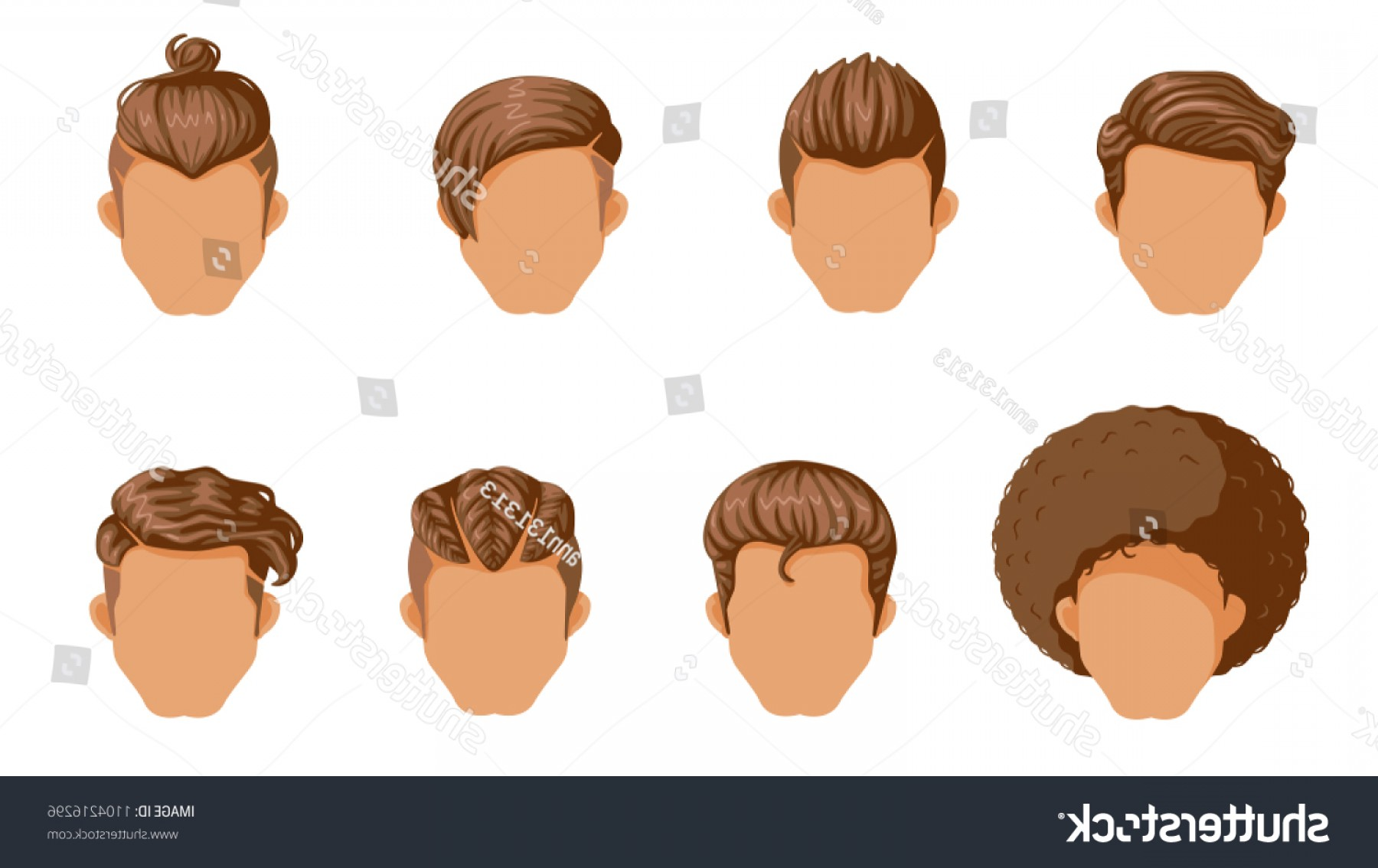 Short Men's Hair Vector: Retro Hairstyle Men Male Hair Mohawk