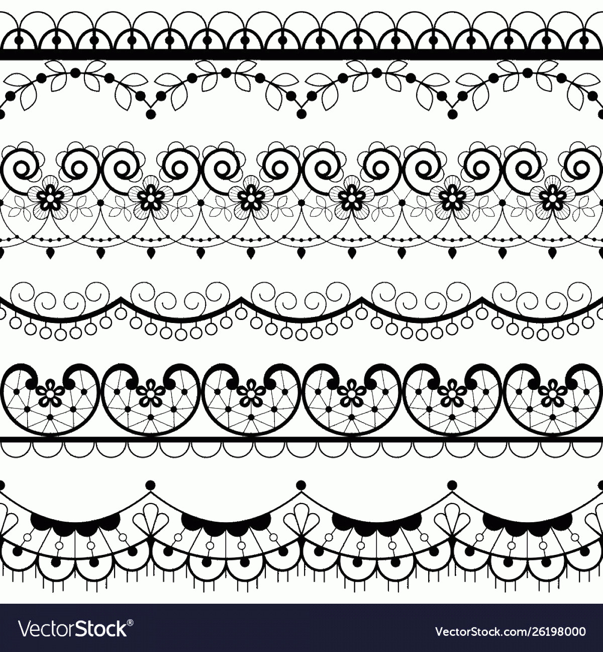 Lace Vector Images Free Clip Art: Retro Lace Seamless Pattern Set Black And White Vector