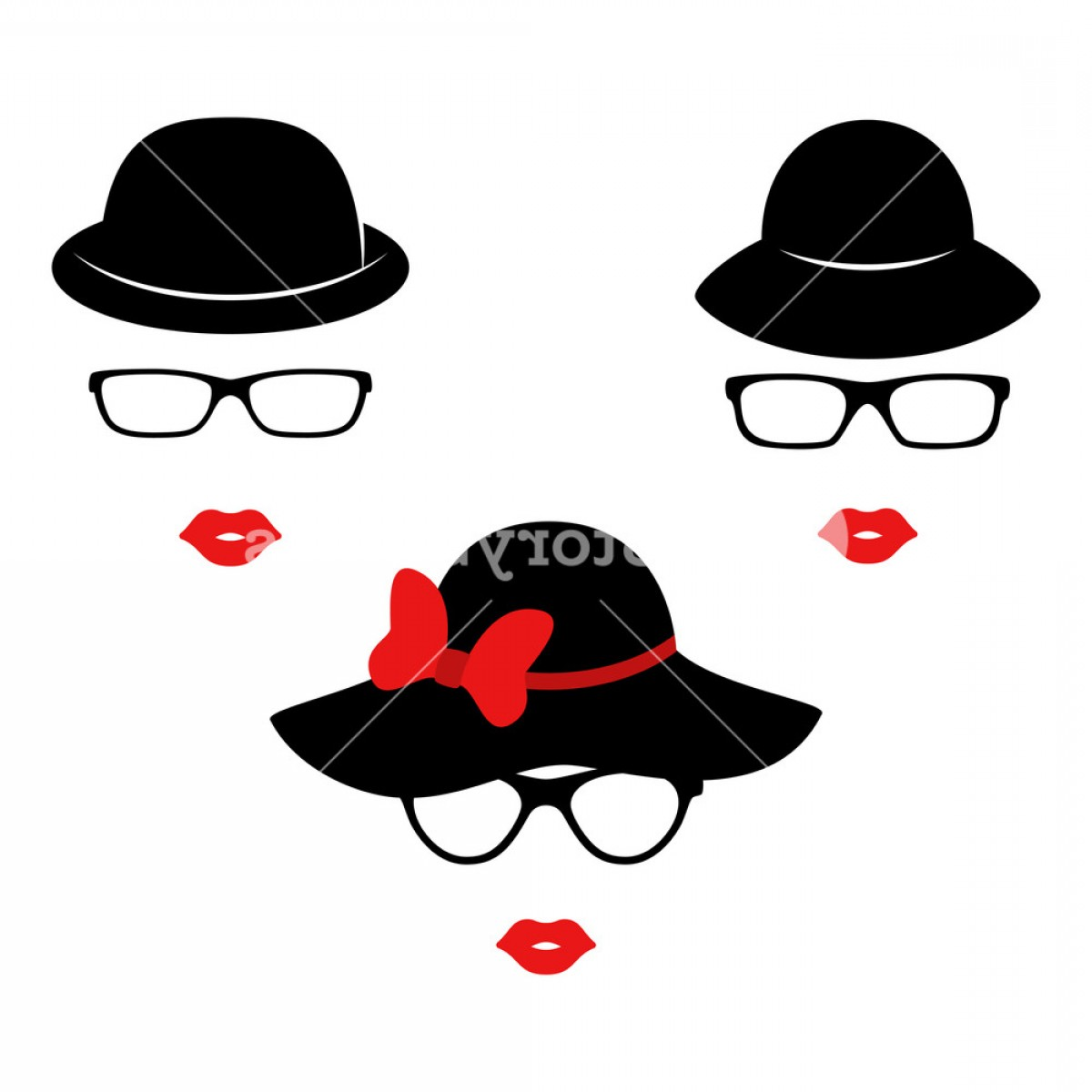 Vector Boutique: Retro Ladies In The Black Elegant Hats Woman Face Boutique Concept Vector Illustration Bvkbpwpgjdigepk