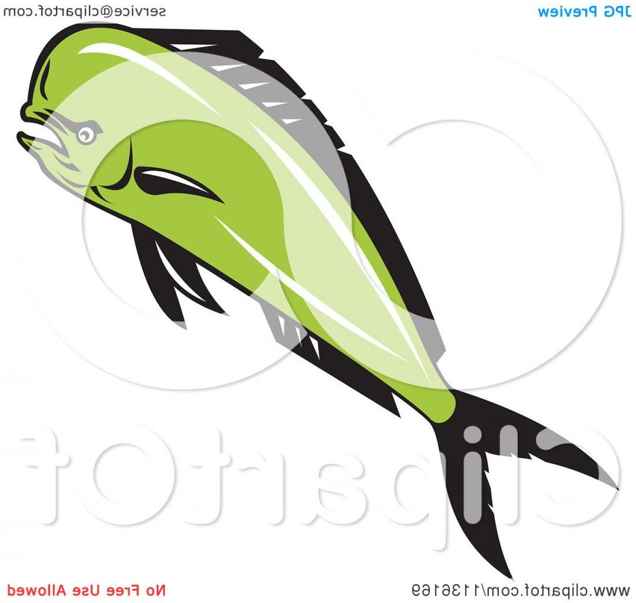 Mahi Mahi Outline Vector Images: Retro Mad Mahi Mahi Dolphin Fish