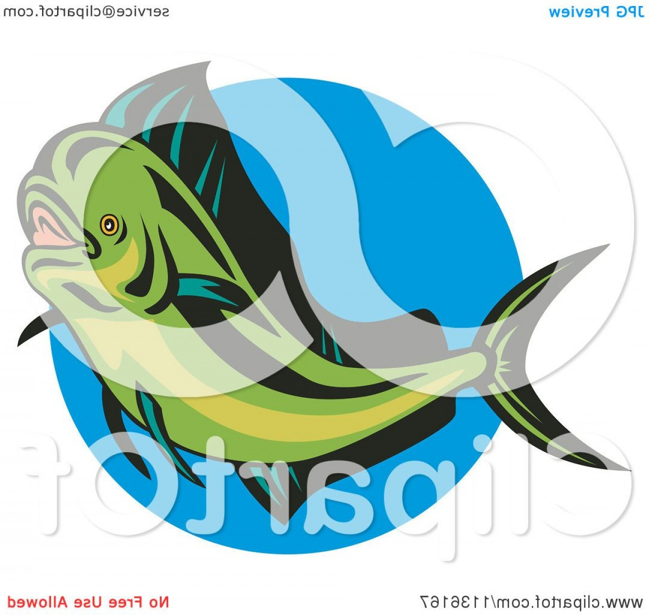 Mahi Mahi Outline Vector Images: Retro Mahi Mahi Dolphin Fish Over Blue