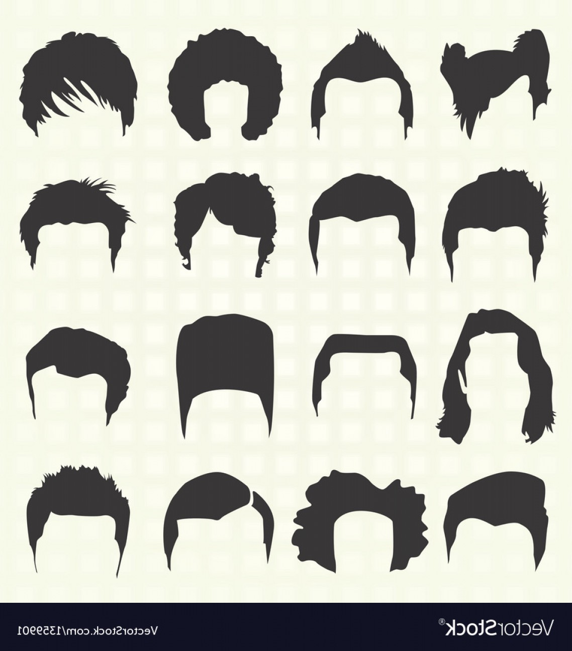 Short Men's Hair Vector: Retro Mens Hair Style Silhouettes Vector