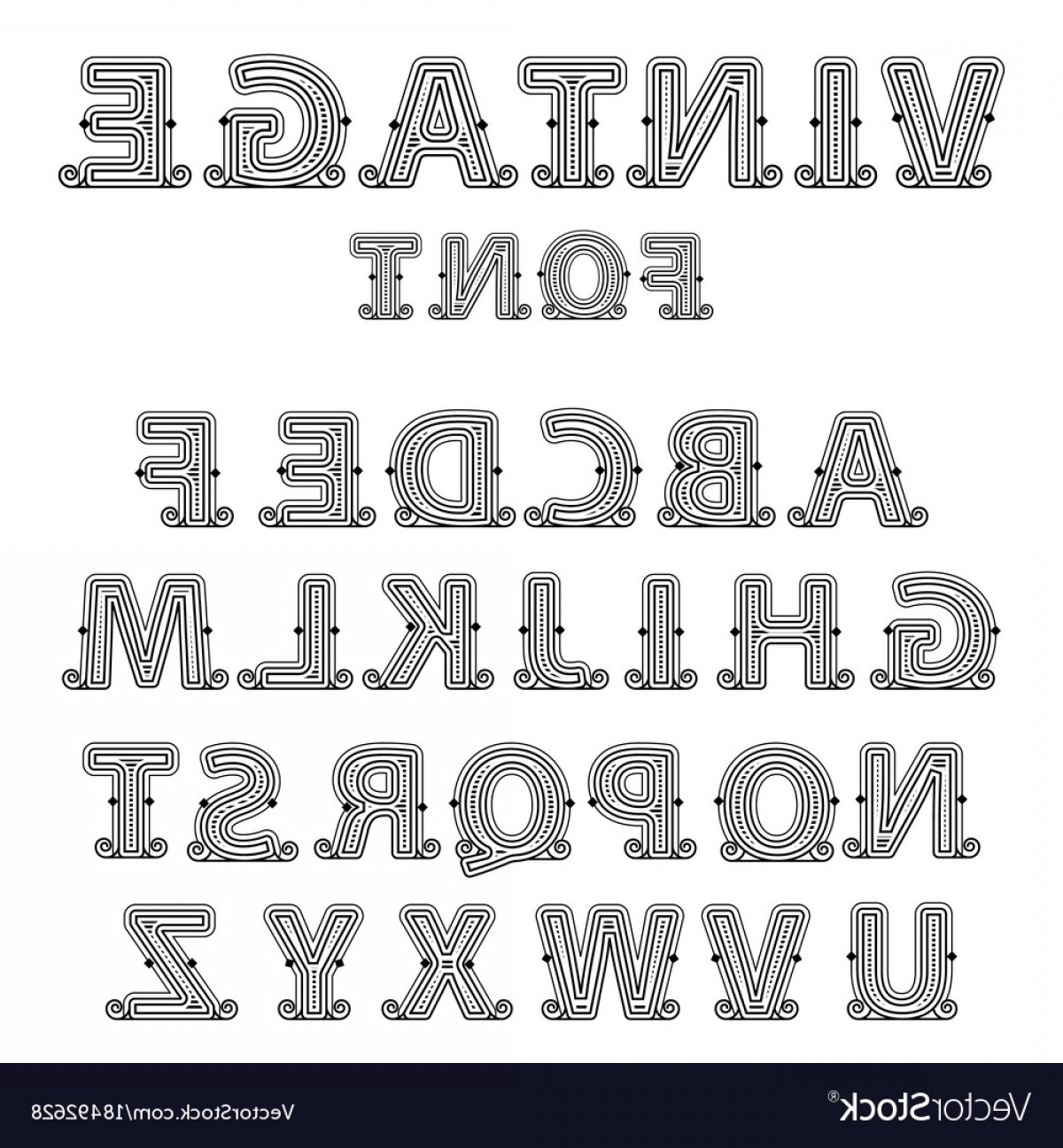 Decorative Font Vector Illustration: Retro Mono Line Decorative Font Vector