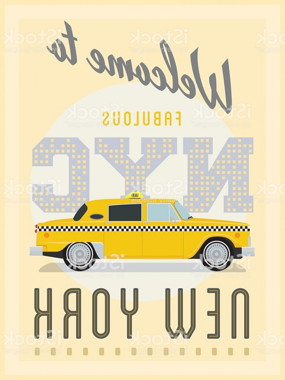 New York Taxi Cab Vector: Retro New York Taxi Poster Vector Illustration Gm